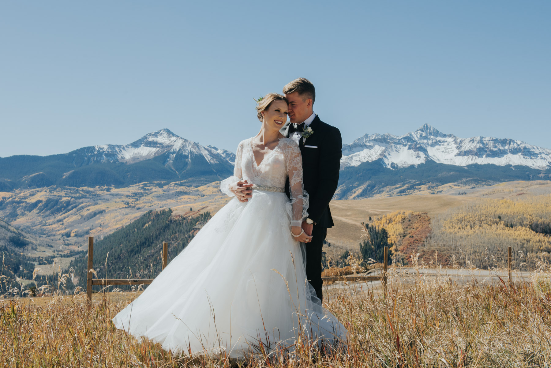 Elyse and Stefan before their amazing Telluride Destination Wedding. They decided to do their first look at the Telluride Airport, and they had some amazing mountain vistas to accompany it.