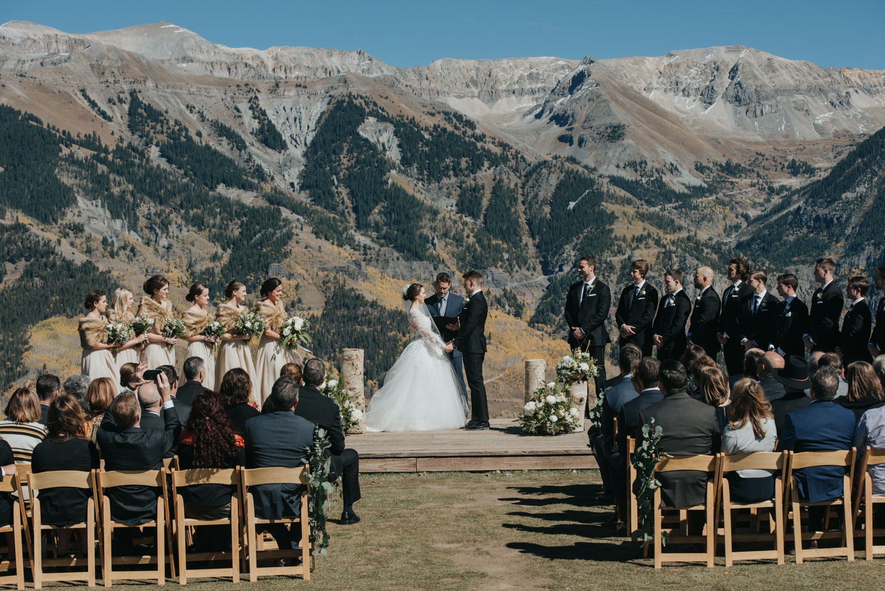 Elyse and Stefan during their amazing San Sophia Overlook Wedding in Telluride, Colorado. They chose to have a destination wedding in Telluride, and the views were epic!