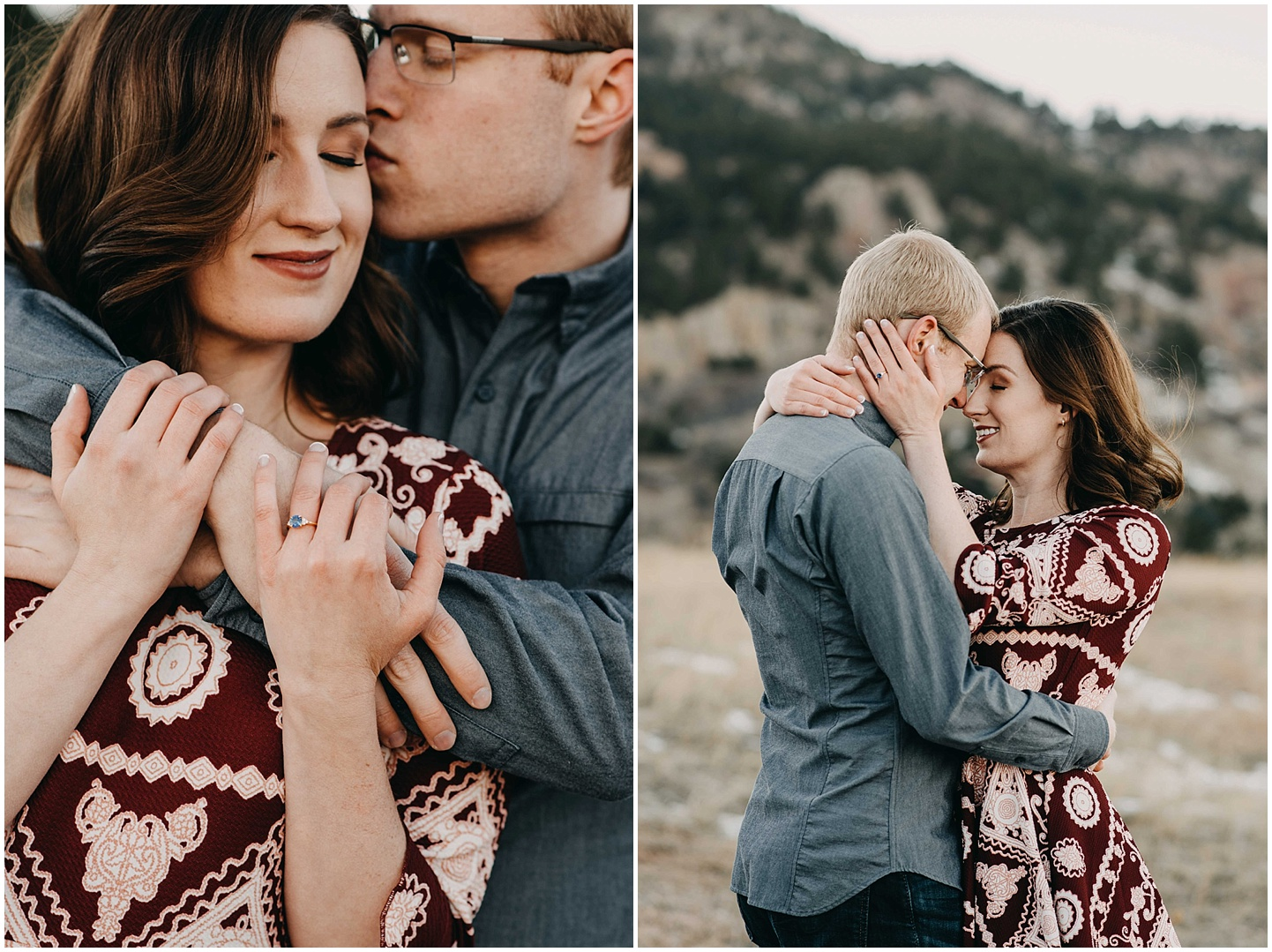 A close up of Trinity and Peter embracing on the left, and them swaying softly on the right. We got together the day after New Years for a fun outdoor engagement session at Chautauqua in Boulder, Colorado.