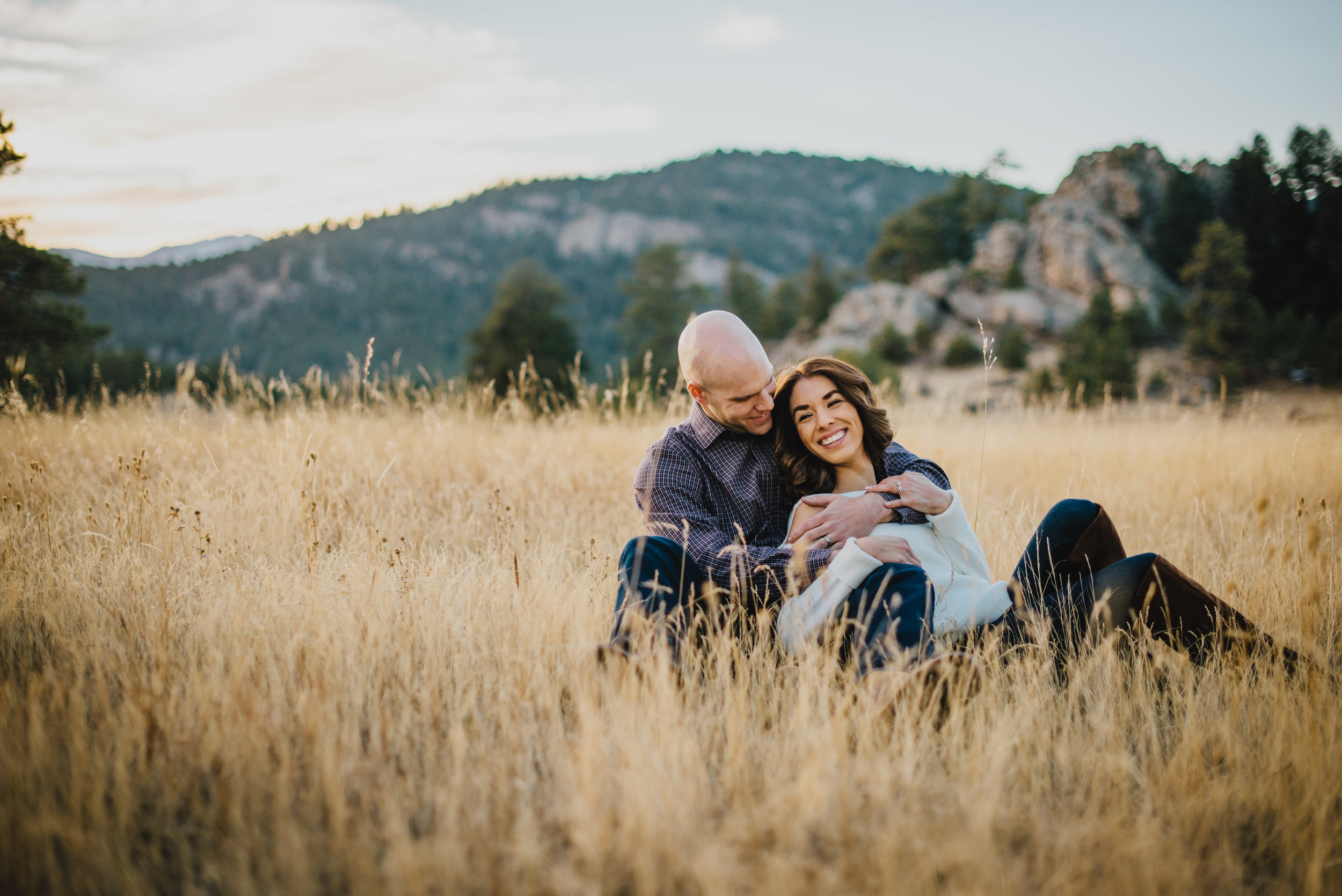 Daisy and Brett during their Three Sister engagement session outside of Evergreen Colorado!