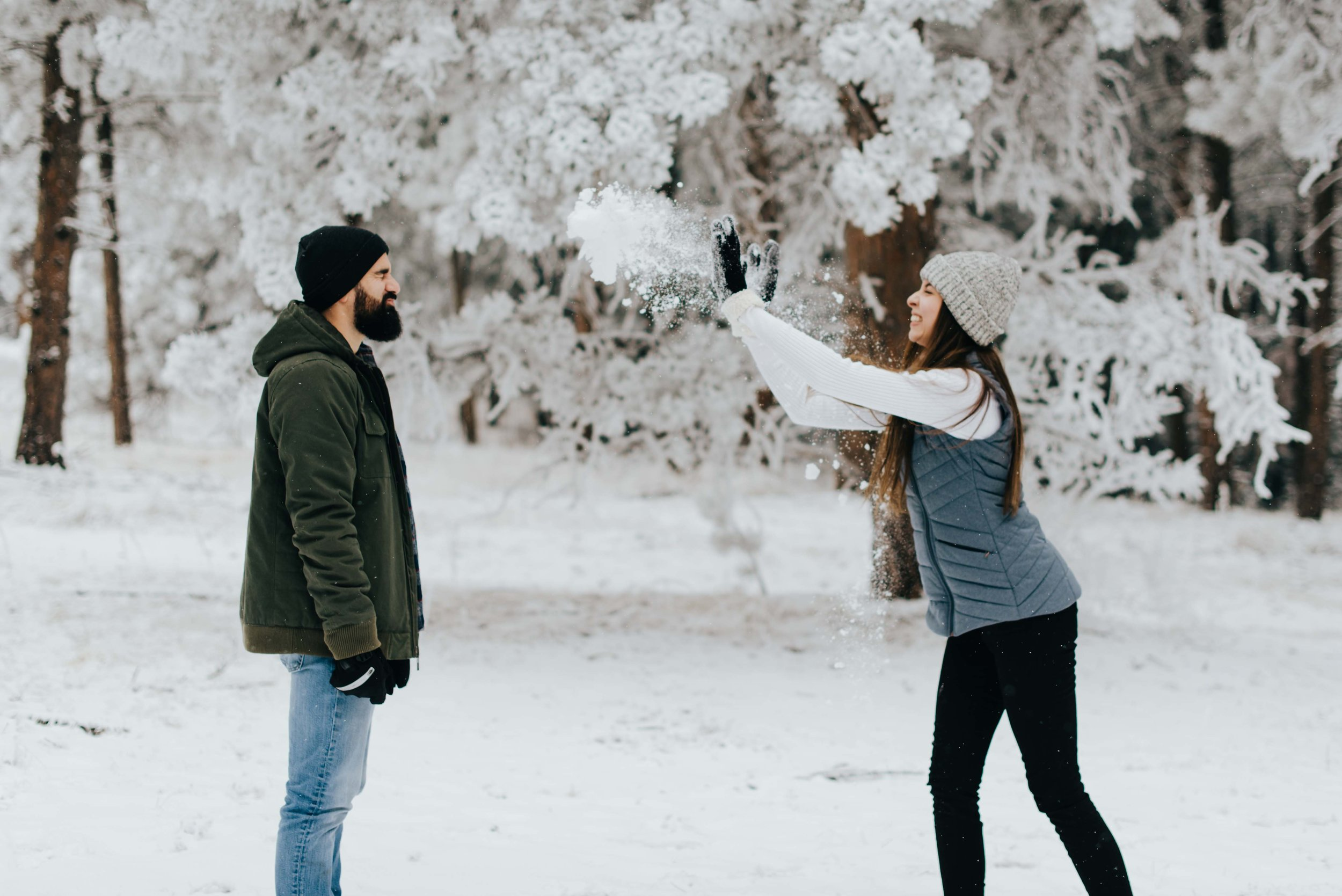 Tani and Nik during their snowball fight. I managed to catch Tani throwing a poor accepting Nik and handful of snow!