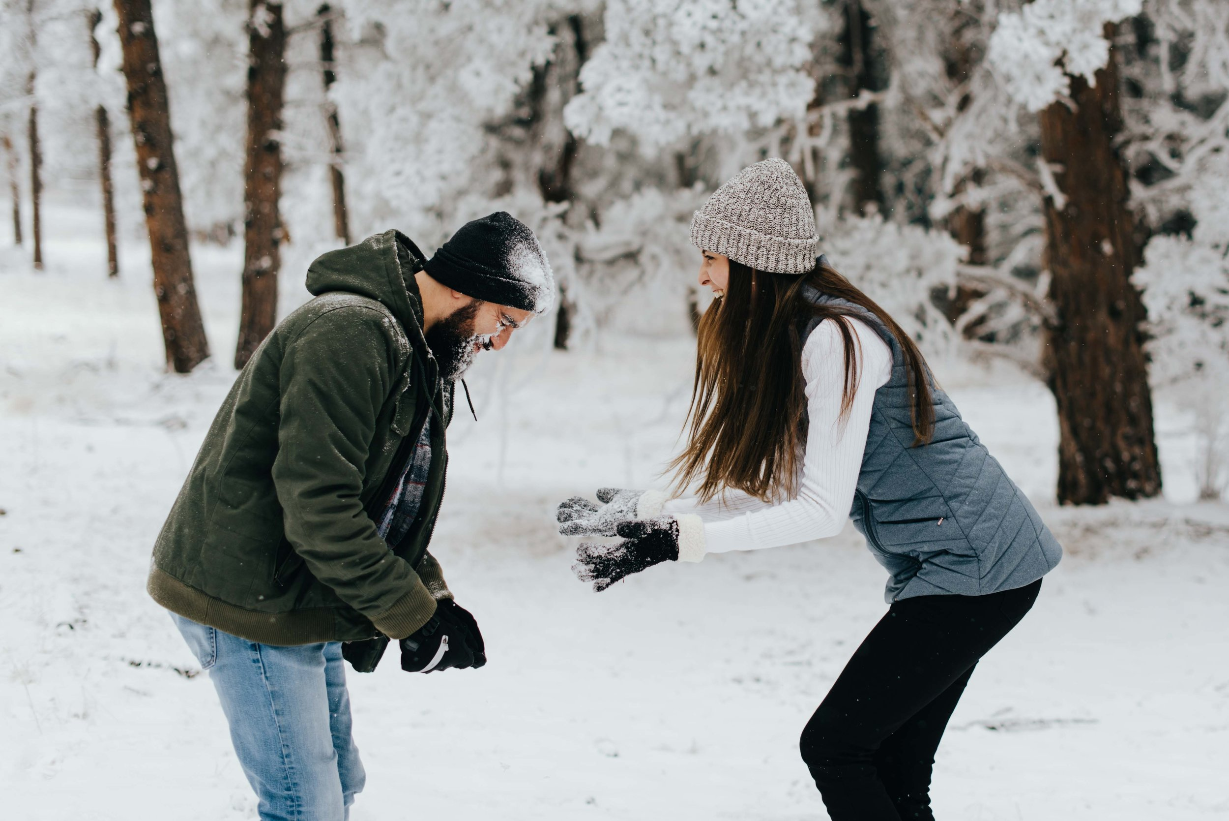 Nik and Tani during their snowball fight!