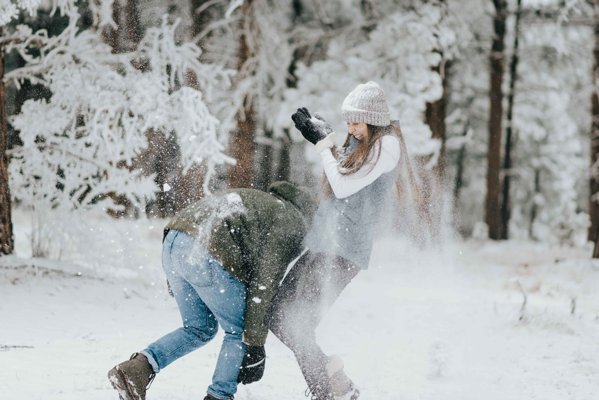 Nik and Tano during their snowy mountain engagement session in Golden, Colorado.