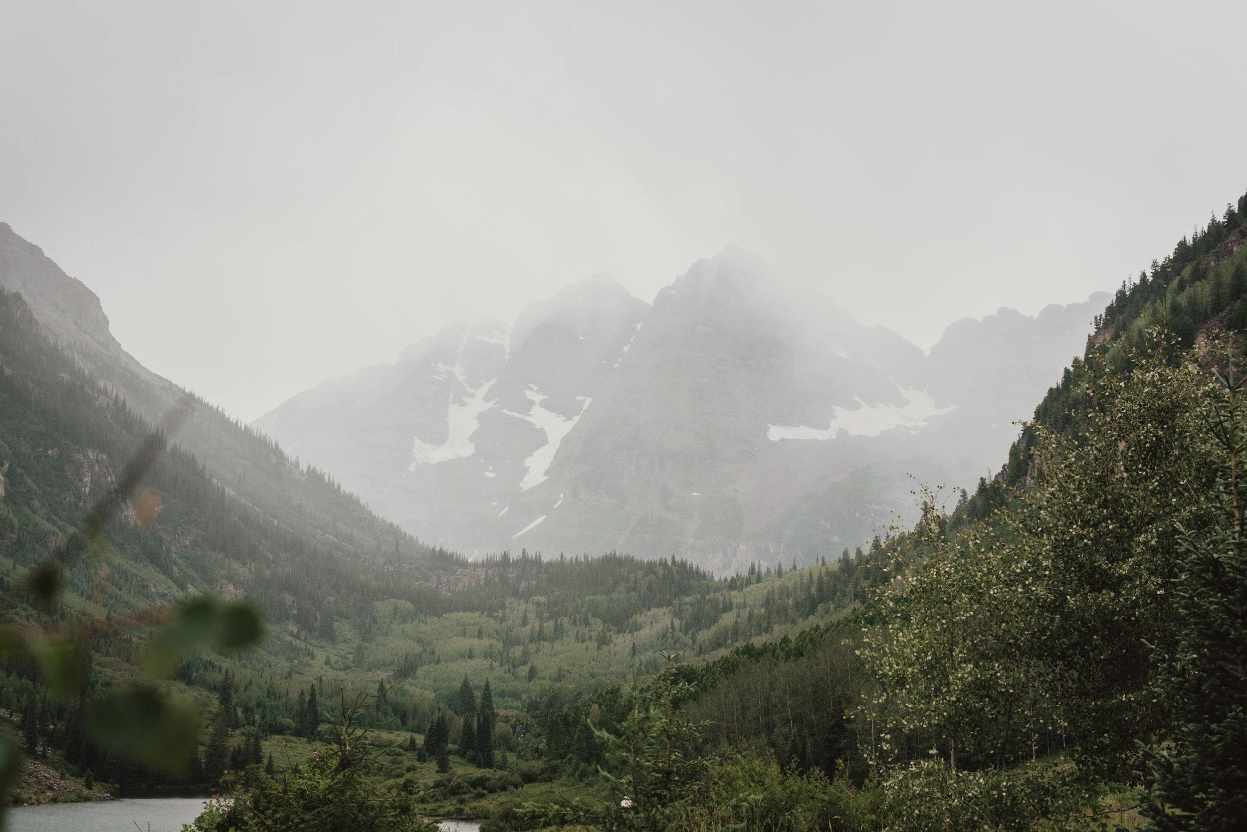 Maroon Bells on a foggy summer day.