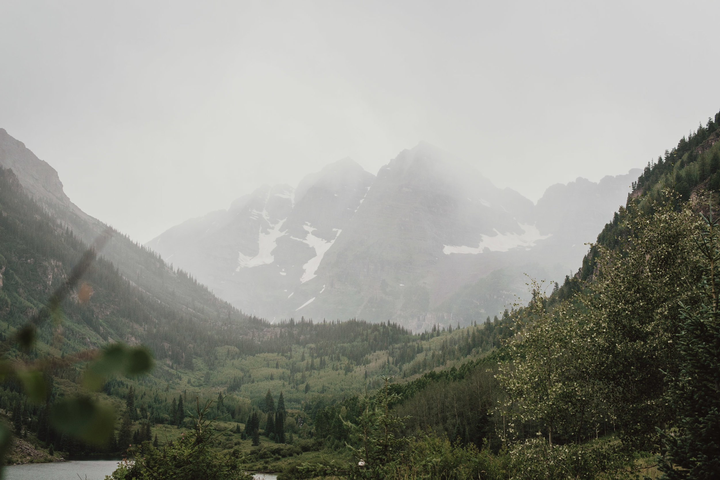Maroon Bells on a foggy summer day.