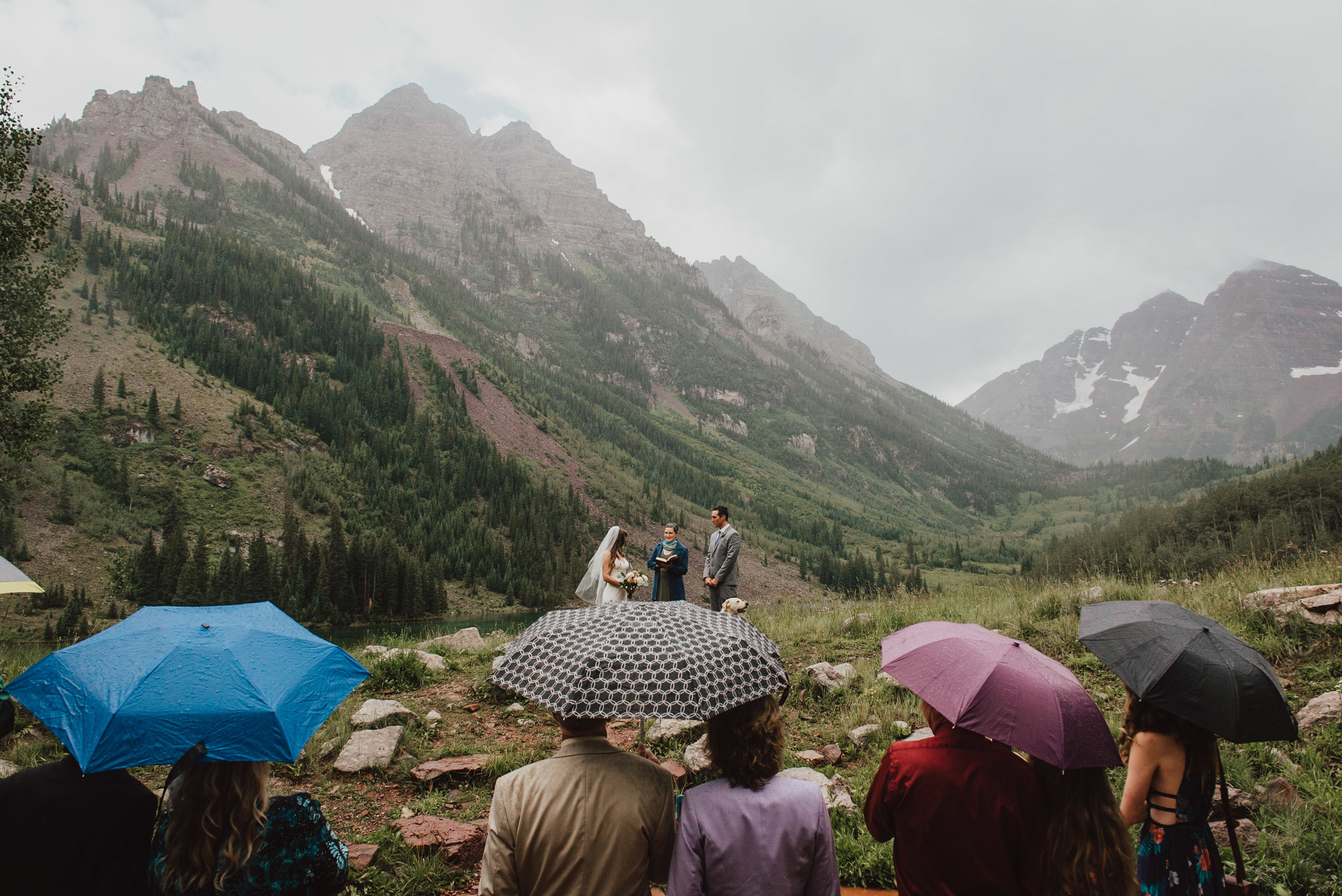 Rainy day ceremony at the Maroon Bells.