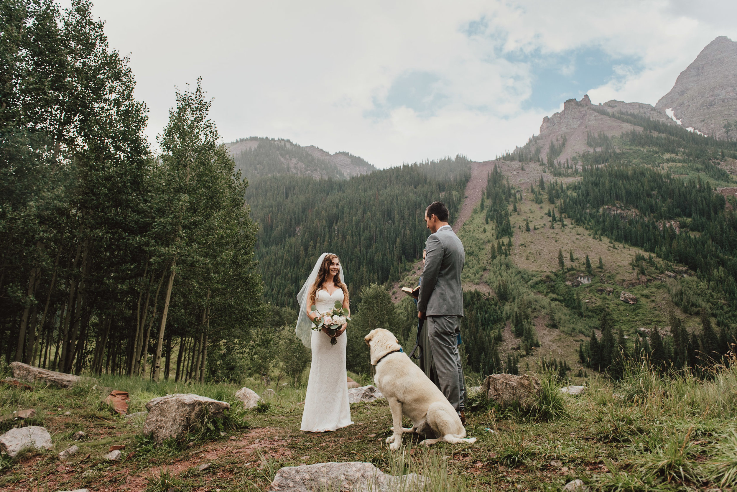 Heather and Darren during their wedding vows at the Maroon Bells.