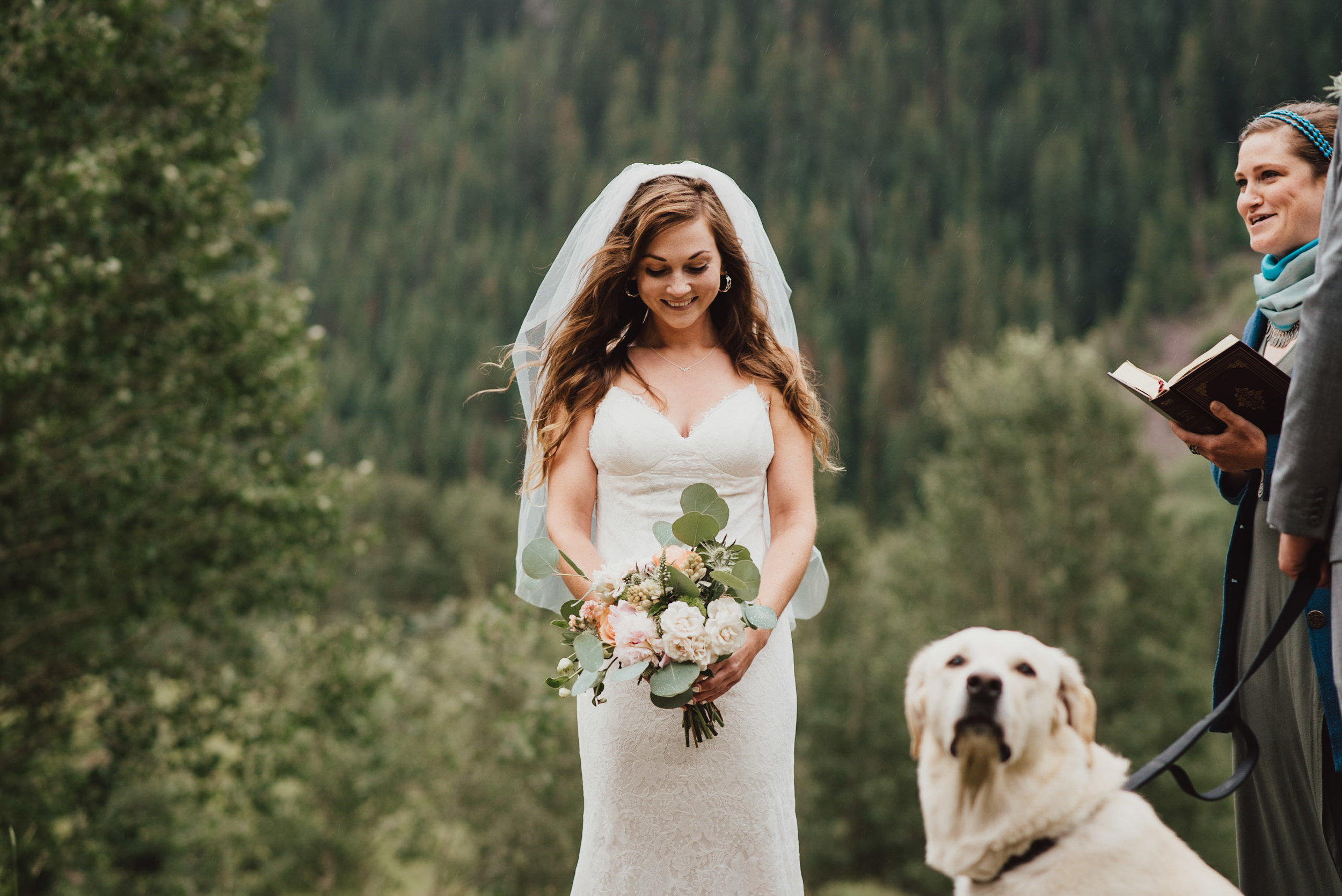 Heather during their wedding vows at the Maroon Bells.