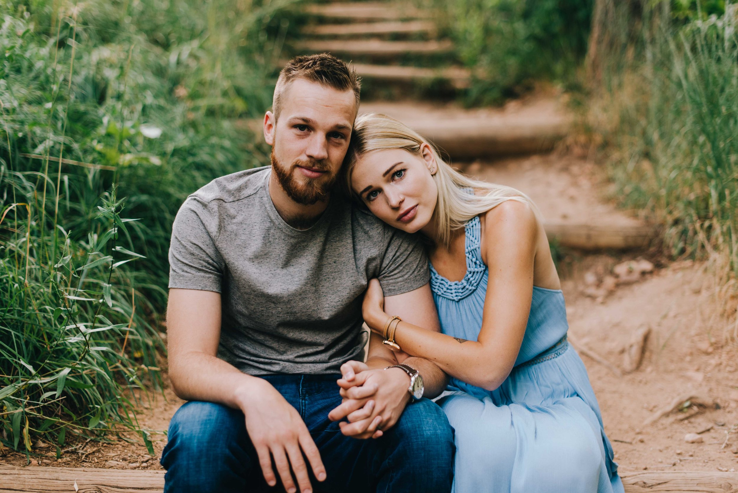Connor and Betsy snuggling during their Boulder, Colorado engagement session