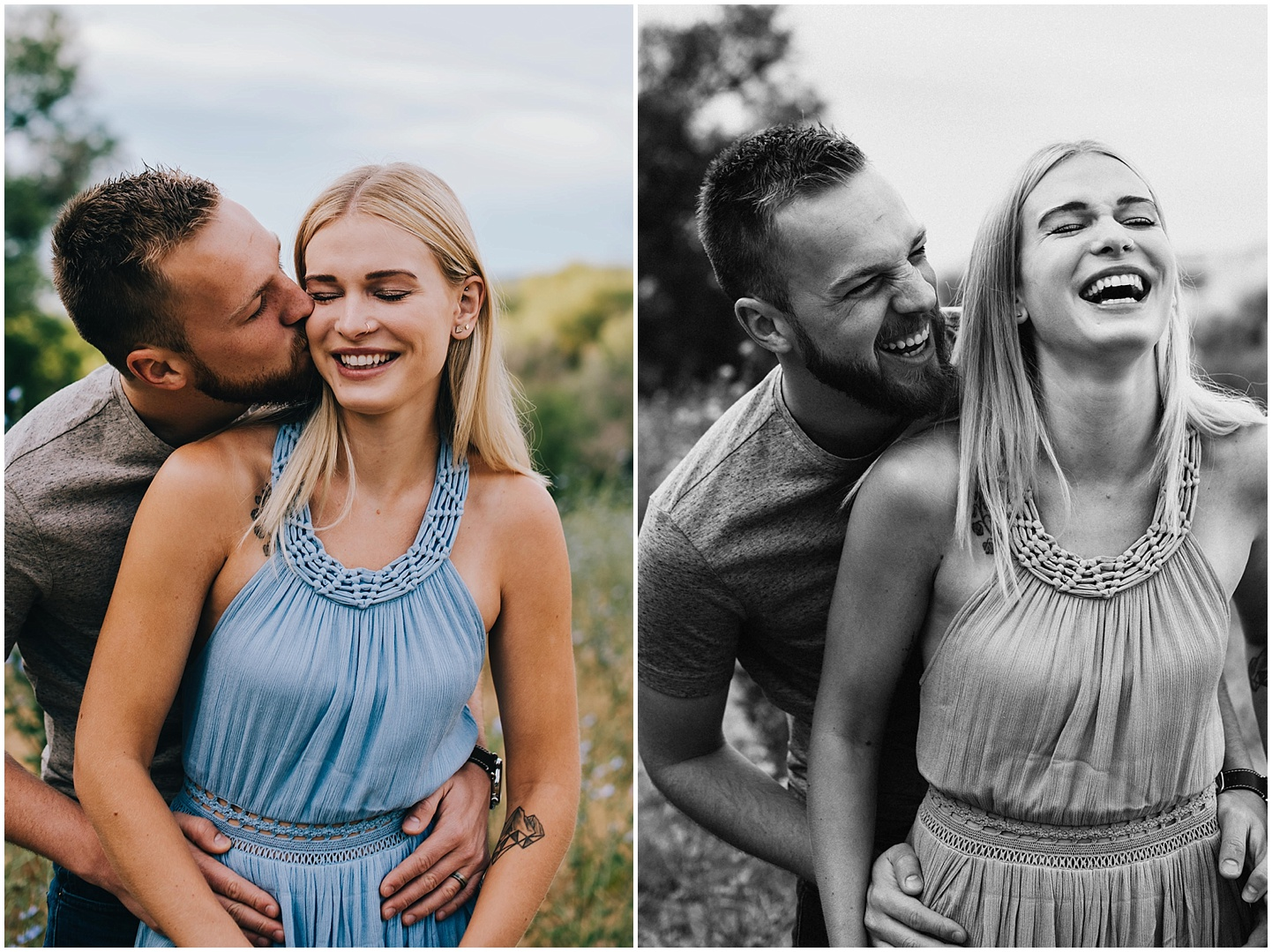 Betsy and Connor laughing during their Colorado engagement session.
