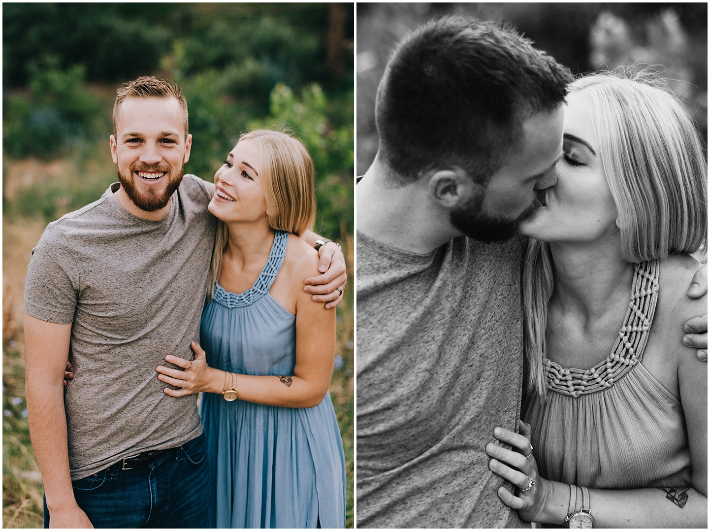 Betsy and Connor snuggling and kissing during their Mount Sanitas engagement session.