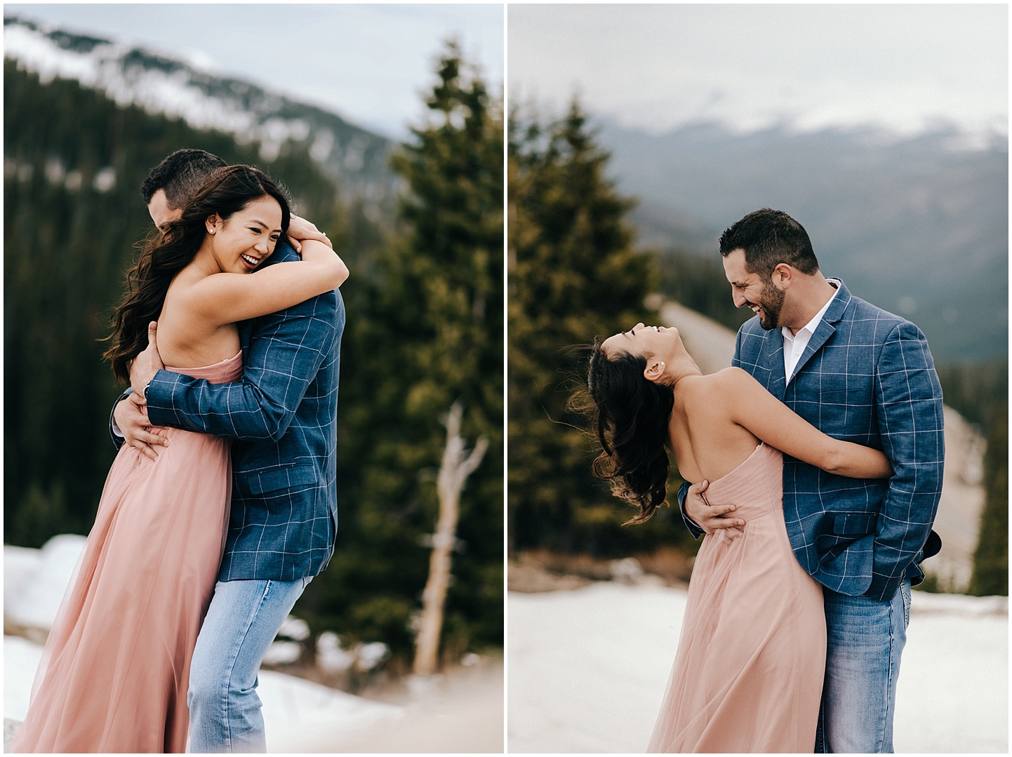 Steve and Celina hug it out for their Berthod Pass engagement session.