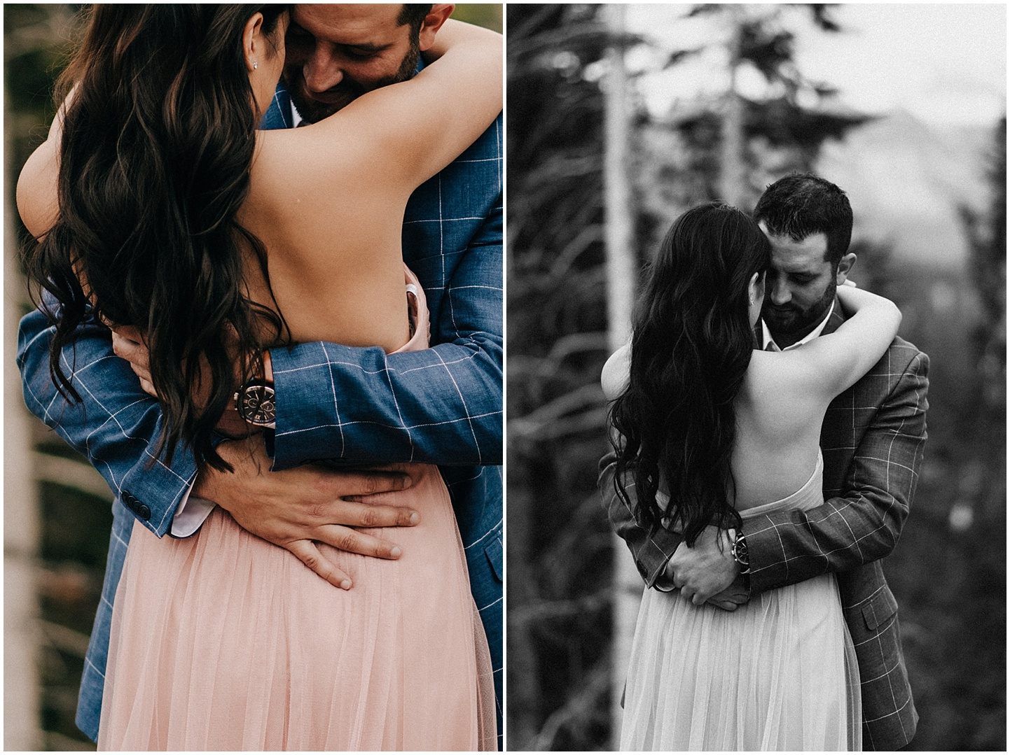 An intimate hug during Steve and Celina's Winter Park engagement session.