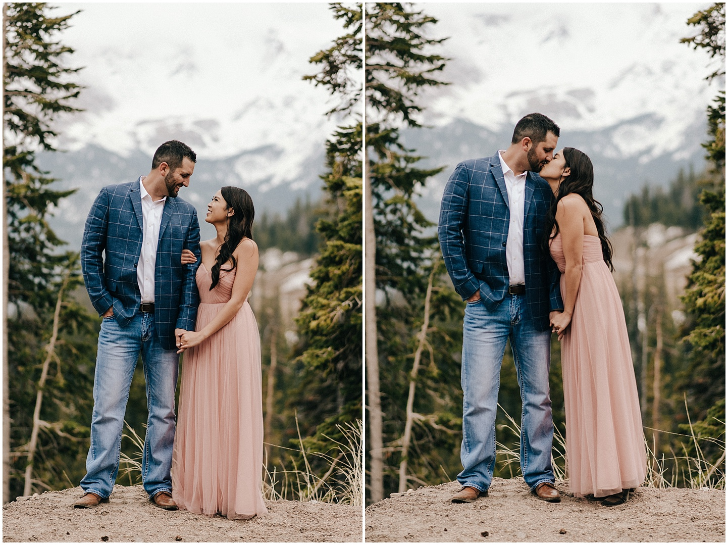 Steve and Celina with the continental divide in the background during their Berthod Pass engagement session.