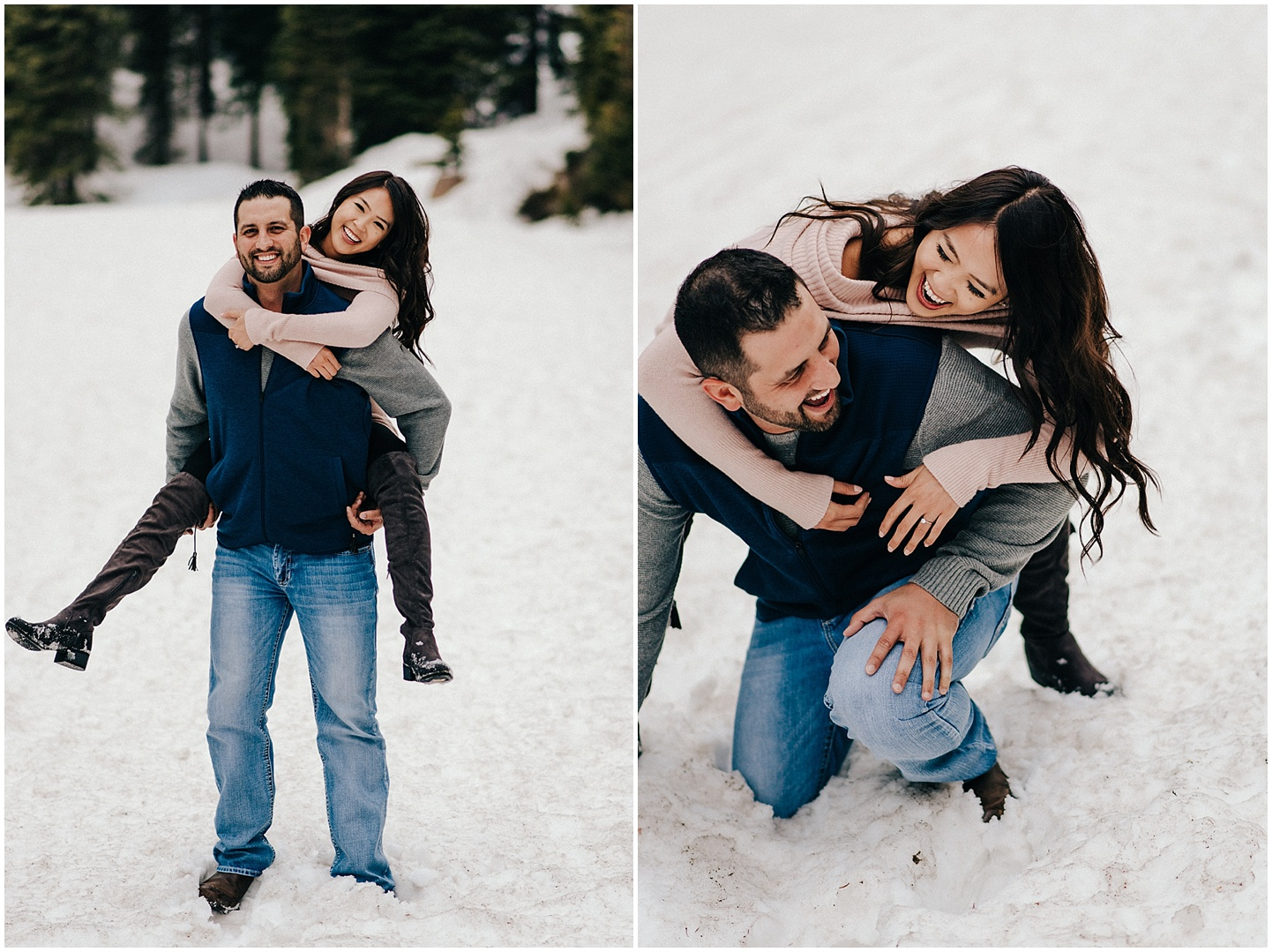 Celina & Steve playing in the snow during their Winter Park engagement session.