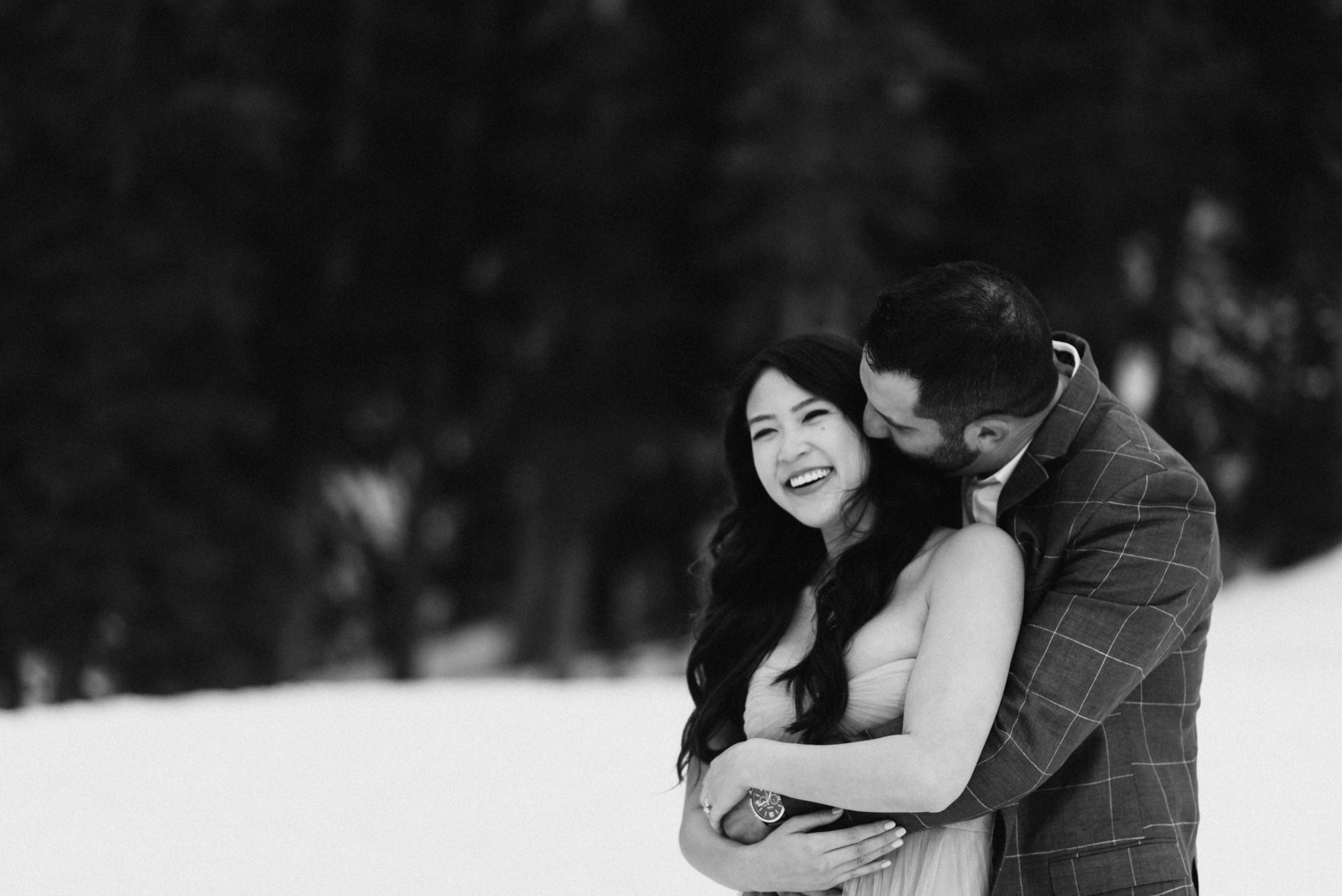 Black and white shot of Steve and Celina during their Fraser engagement session.