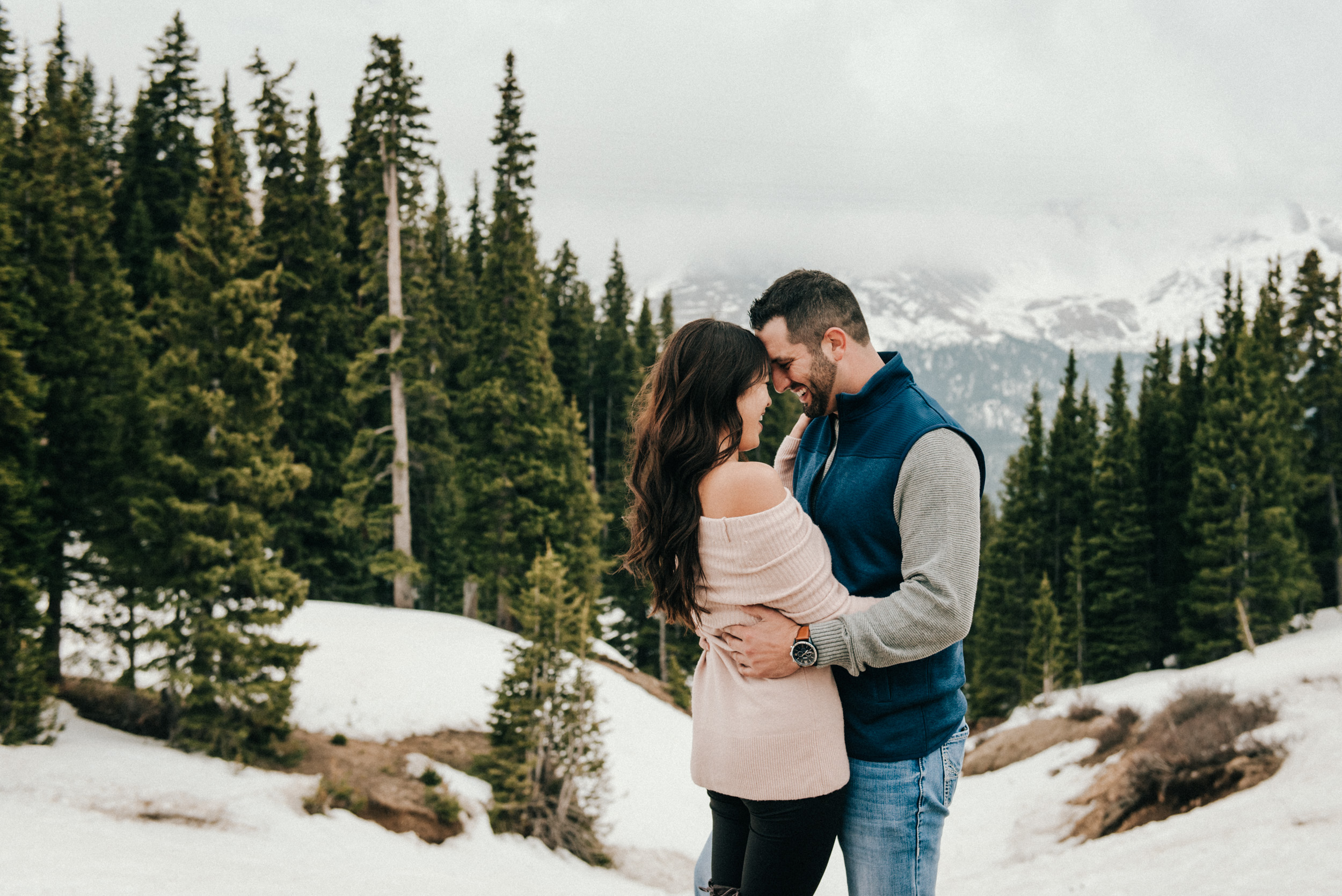 An intimate, snowy engagement session in the Colorado Rockies.