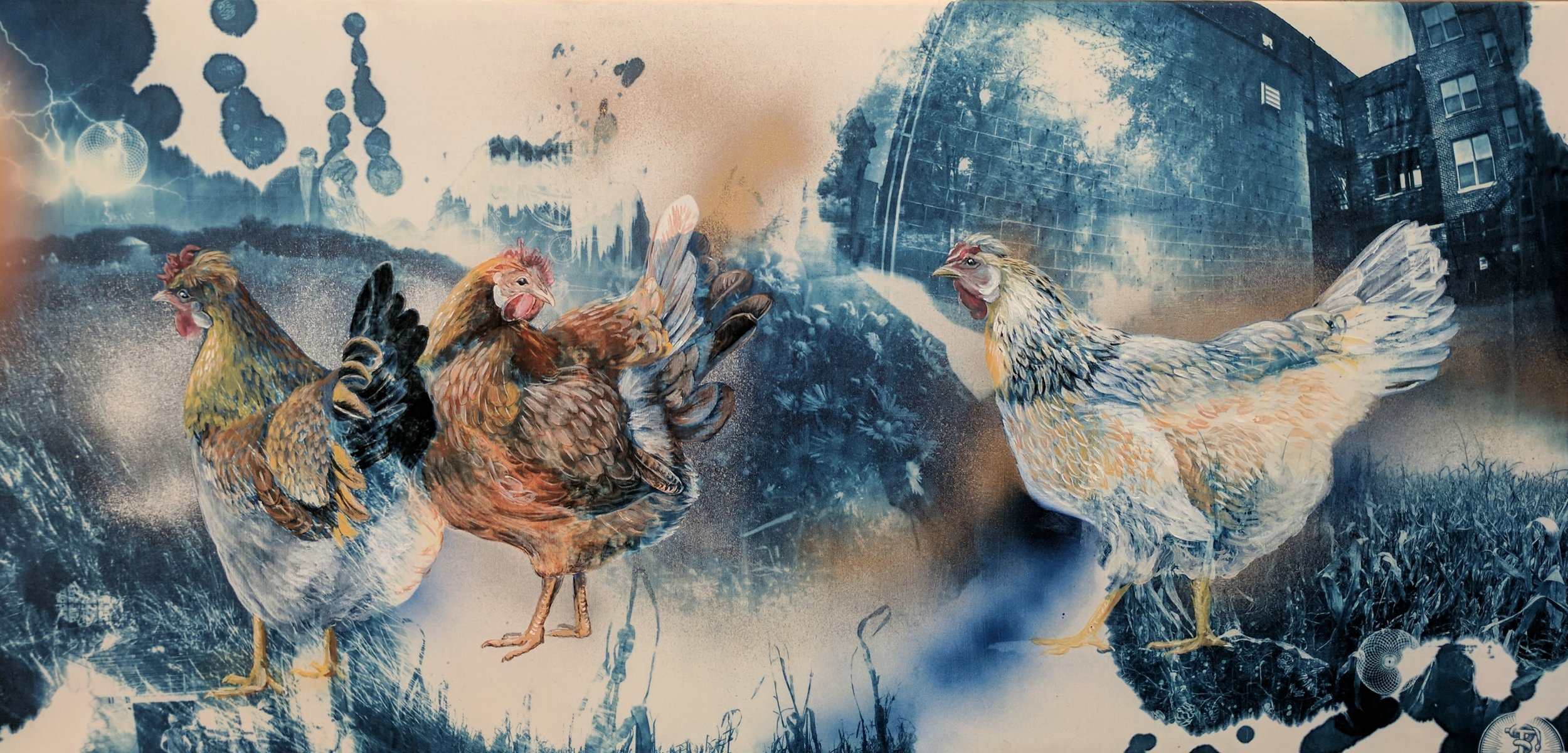 "Icelandic Chickens of Whipoorwill Farm , 2017, 18x36"", Cyanotype, Acrylic, and Spraypaint on Cotton."