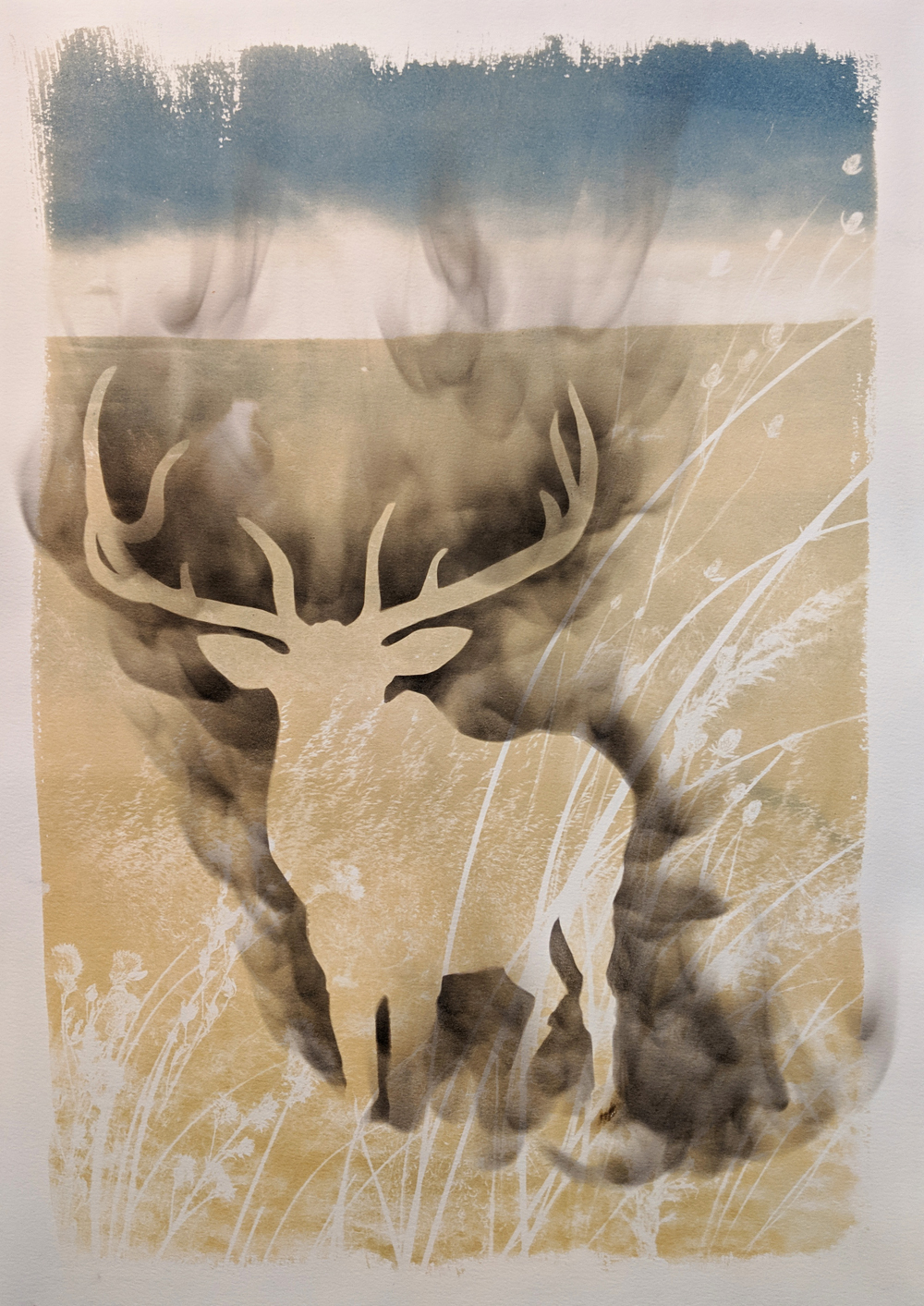 """- American Elk2019Cyanotype and candle soot, 15x22""""$190"""