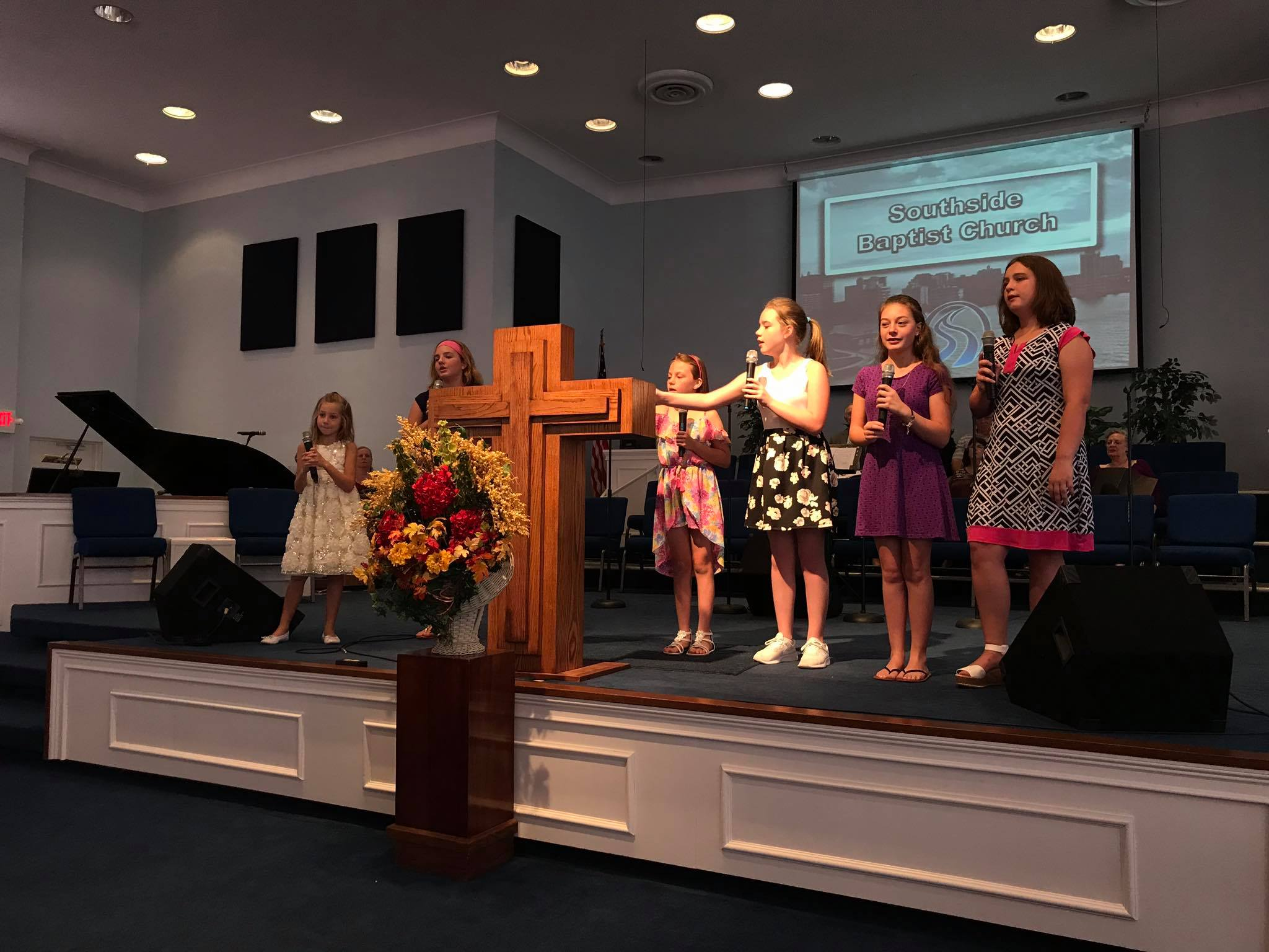 Some of our young people singing in church
