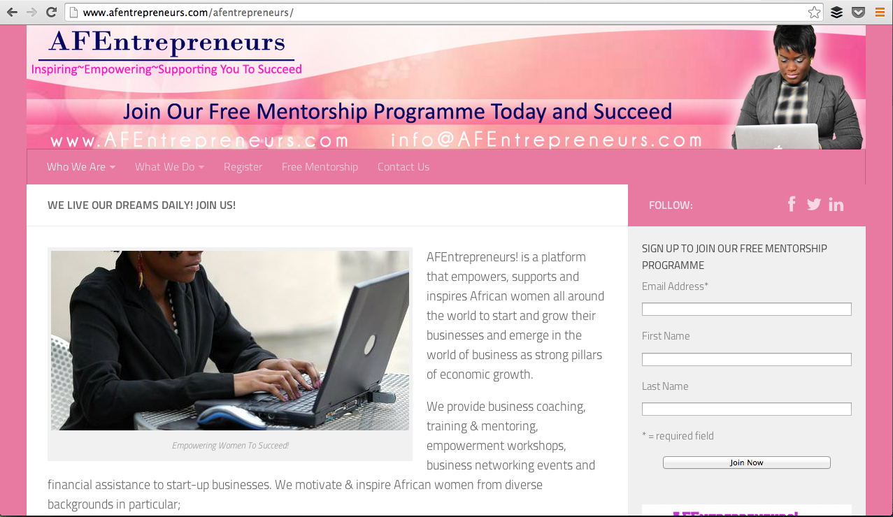 The AFEntrepreneurs! Website