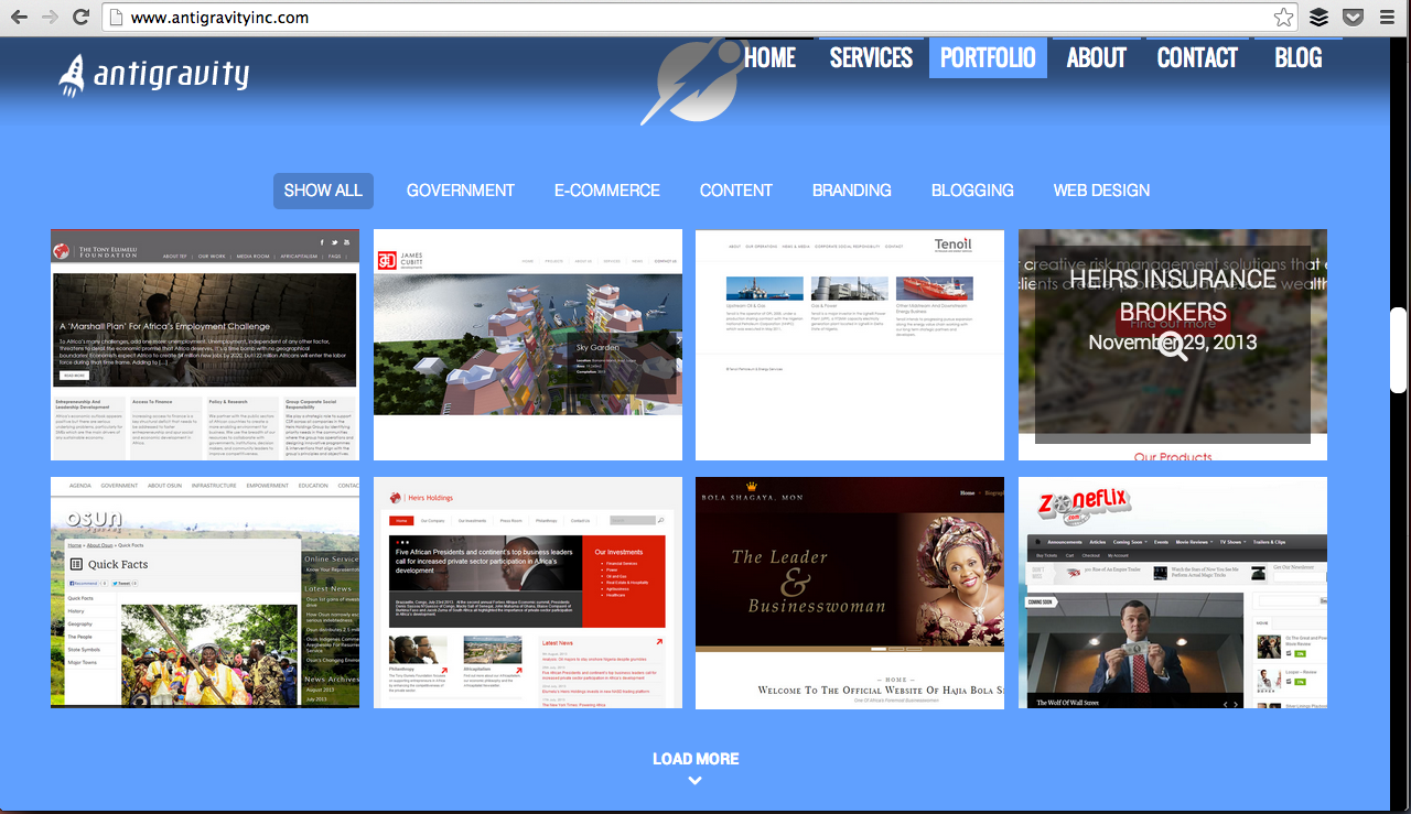 Some websites they've worked on at Antigravity