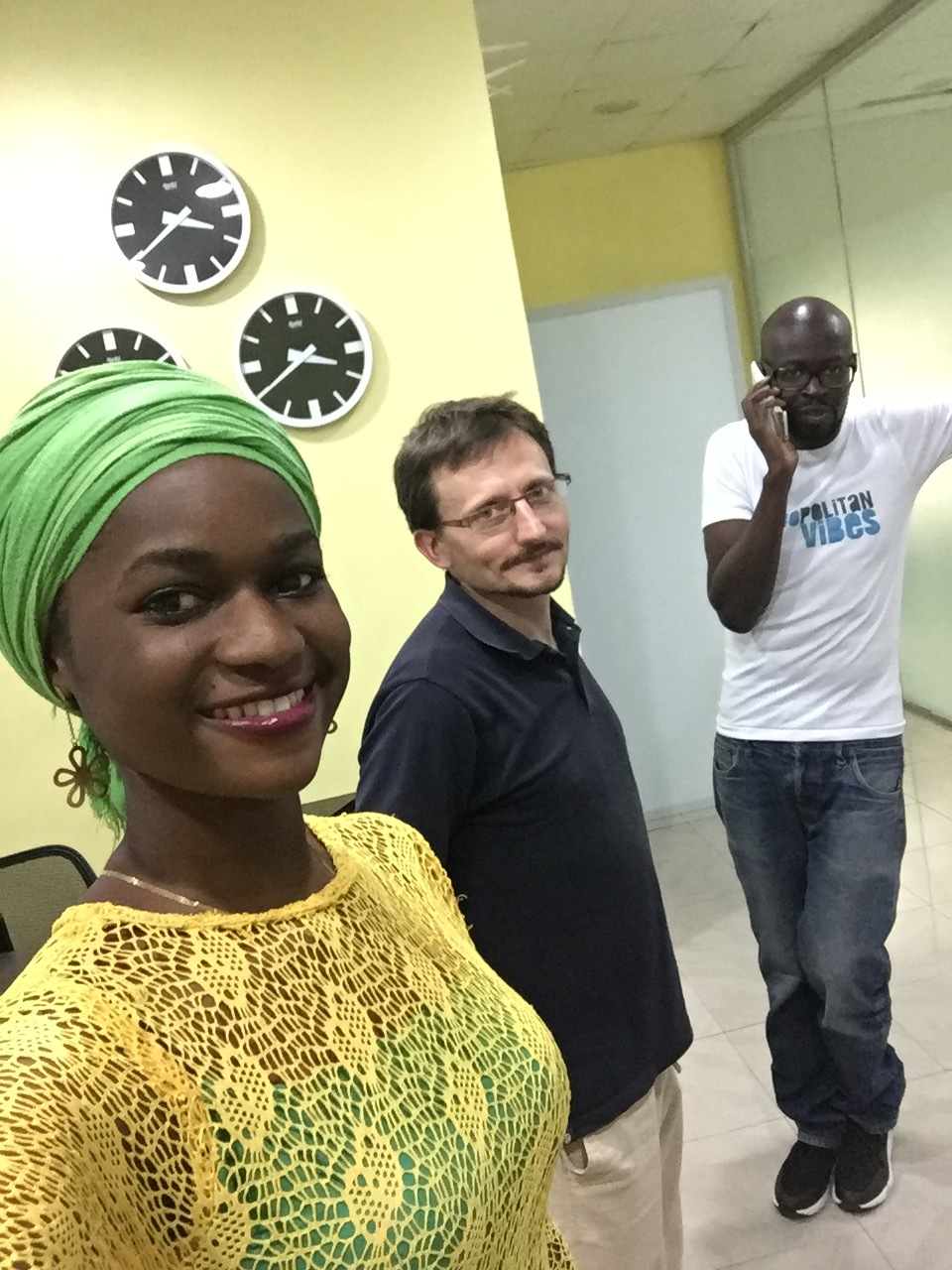 Gomis poses for a selfie with Tolani, the communication executive at CapitalSquare and Alain, his visiting colleague from France