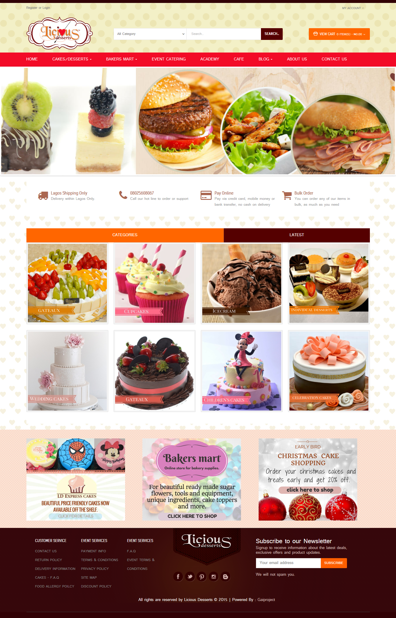 mockup for Licious Desserts. Yum!