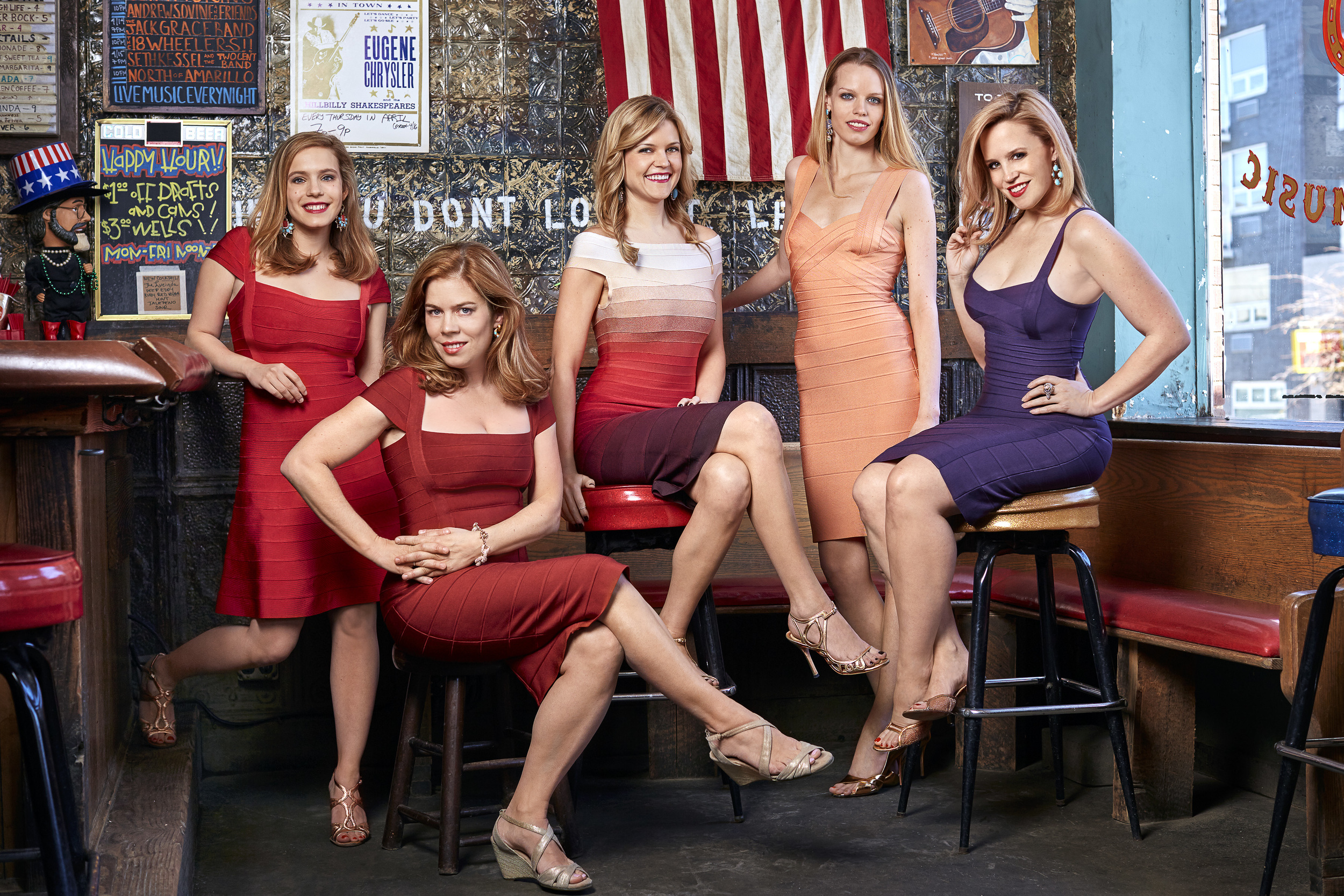 From left to right, Your Ex-Girlfriends are: Caitlin O'Connell, Kari Nelson, Lindsay Ryan, Caitlin Kelly, and Kat Thomsen.  Portrait by   Marc McAndrews  .  Wardrobe by  Herve Leger . Photographed at  Skinny Dennis .
