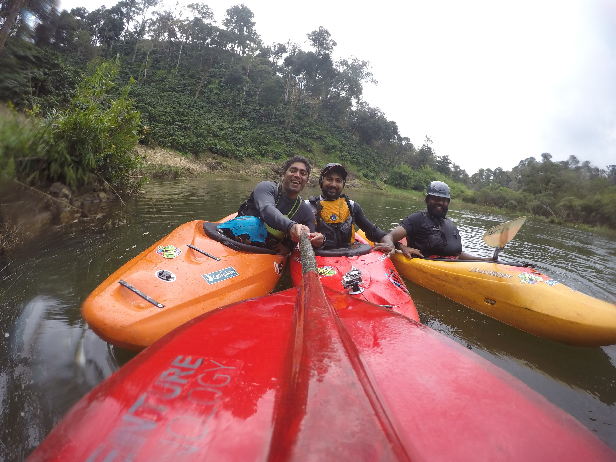 The trio taking a quick snap before heading downstream
