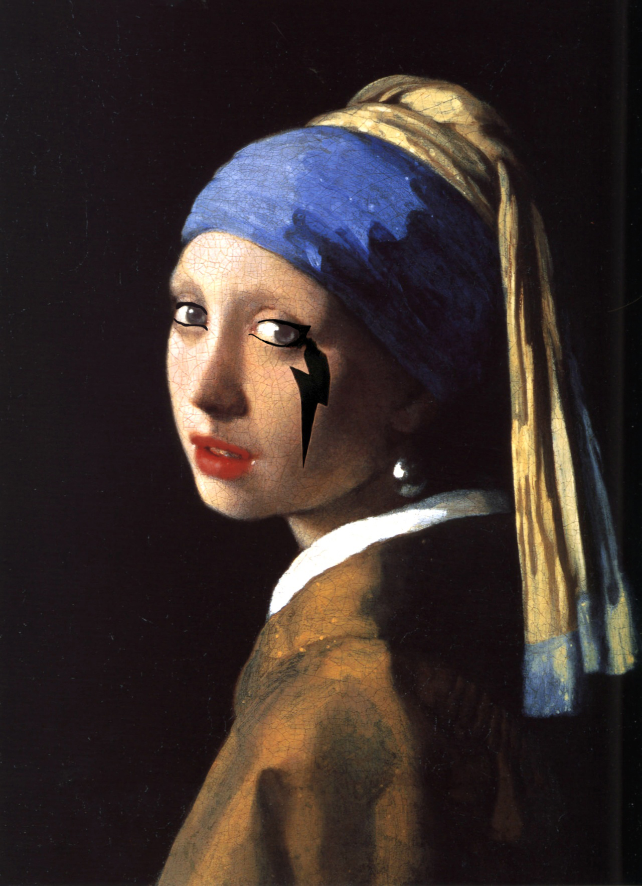 Girl with a Pearl Earring and a Lady Gaga Lighting Bolt