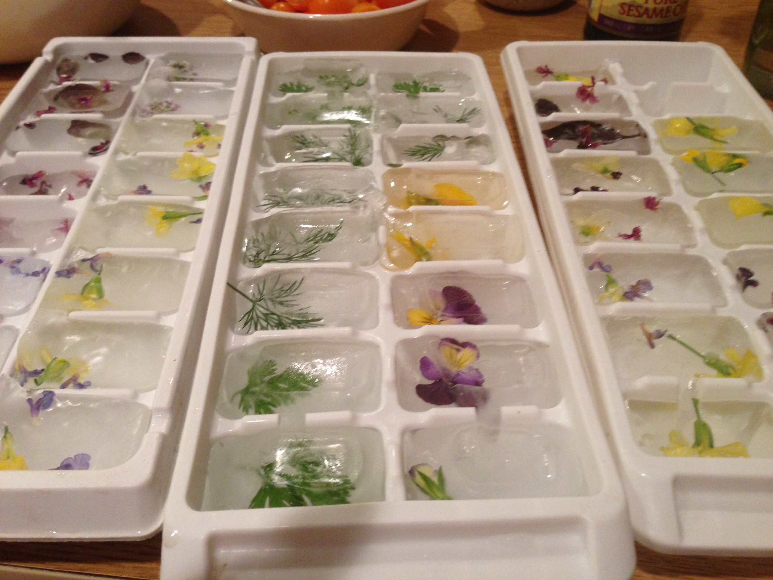 Herb-infused Ice Cubes for flavored water