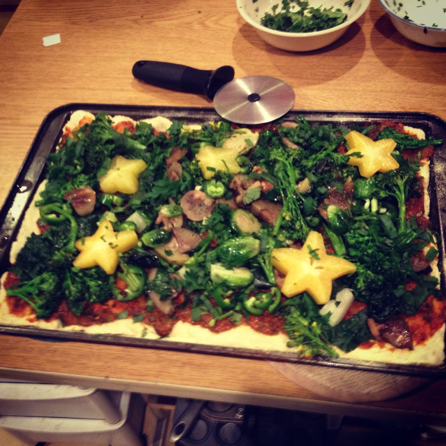 Cassava Pizza Dough With Starfuit and Kale