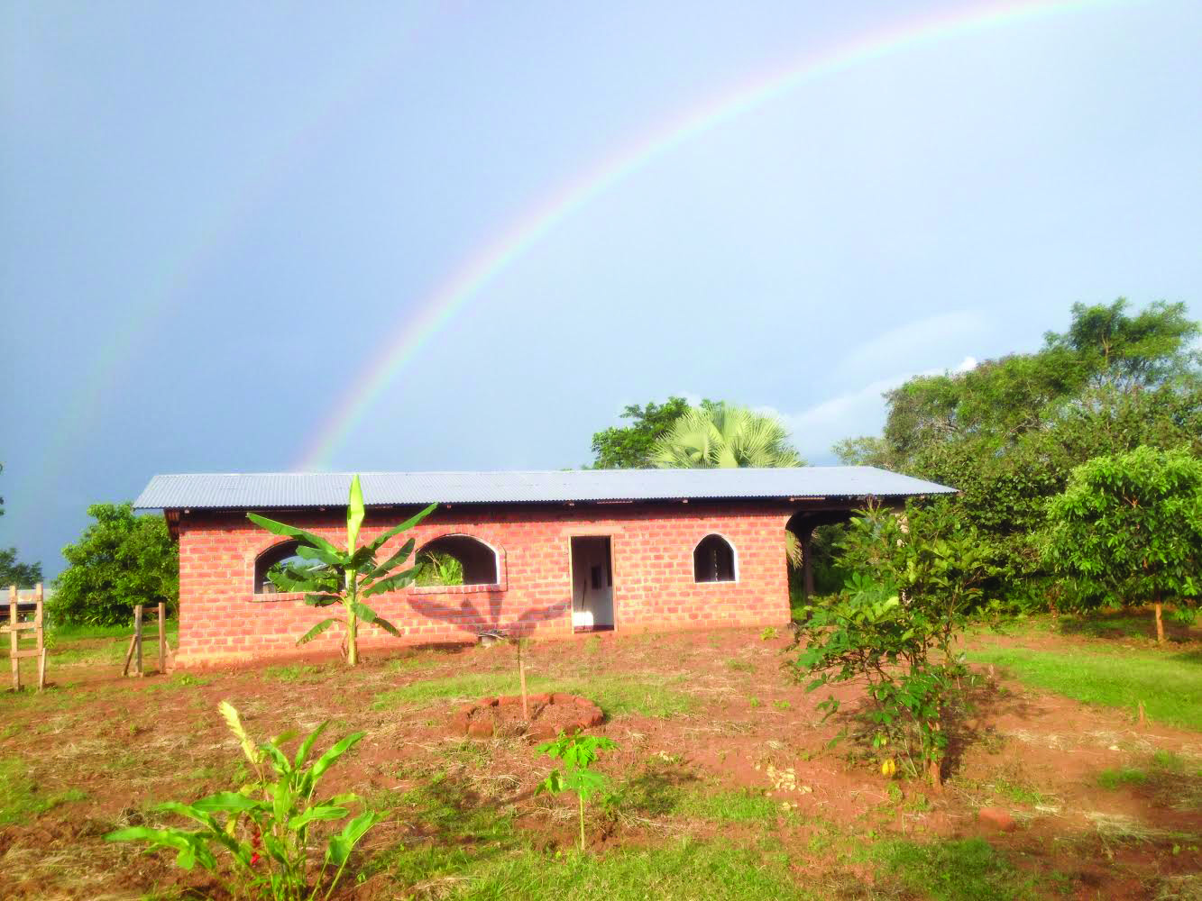 Timothy helped to landscape this agricultural training classroom in Gamboula, Central African Republic