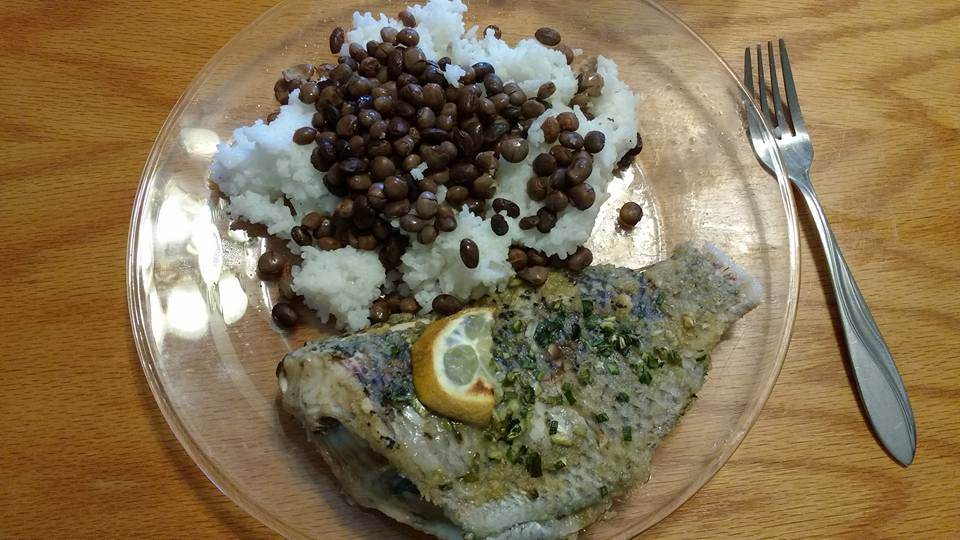 Tilapia with rice and tepary beans. Not even a whole day from farm to table.
