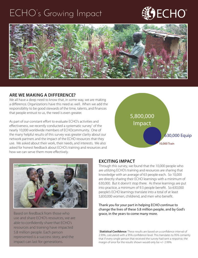 ECHO is reaching over 5.8 million people around the world!  Here's how we know we're making a difference! Click here to  download  this ECHO one-sheet handout.
