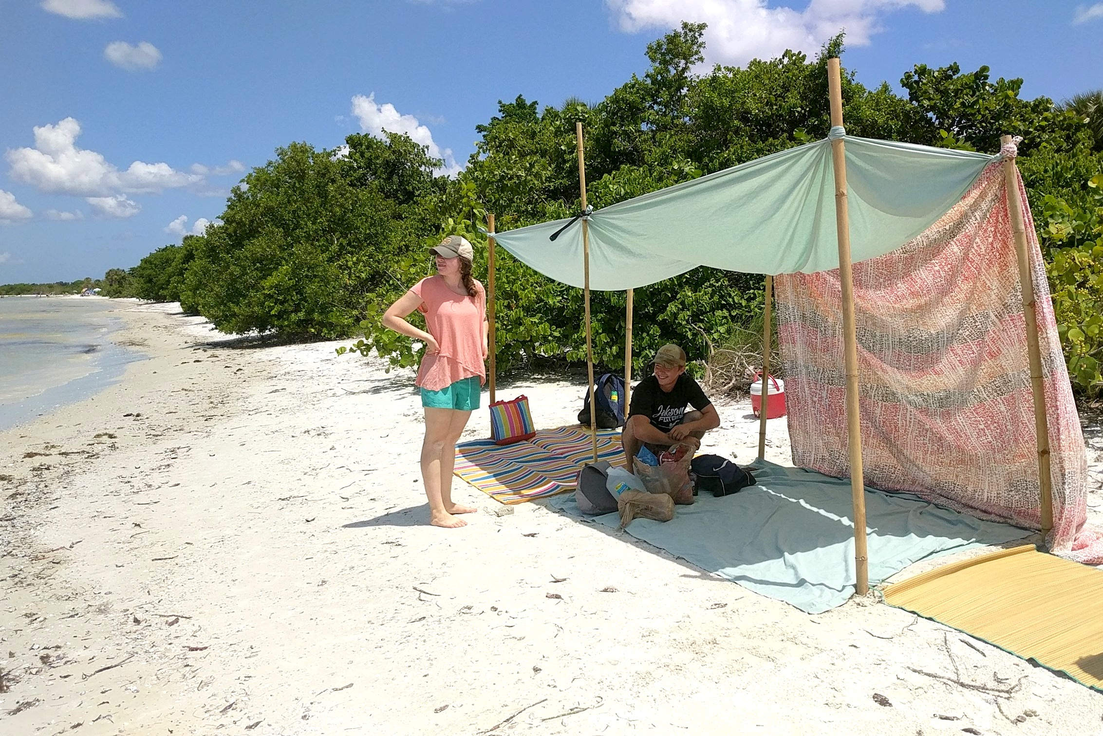 This tent was constructed by the ECHO interns on a trip to the beach on July 4th.