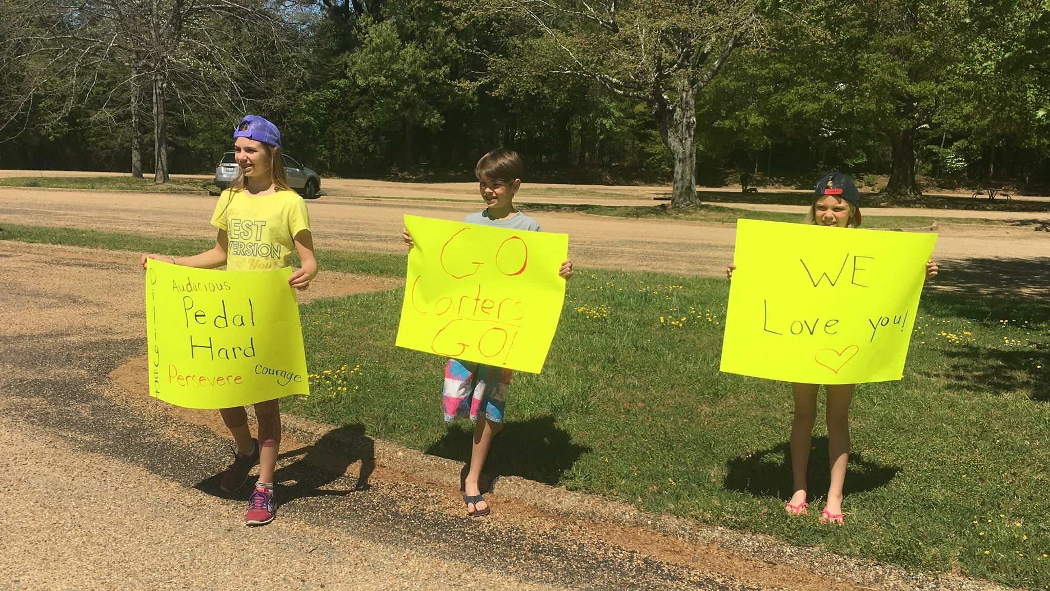 Friends showing us some love as we pulled into the parking lot with truck loaded down with the bicycles and gear.