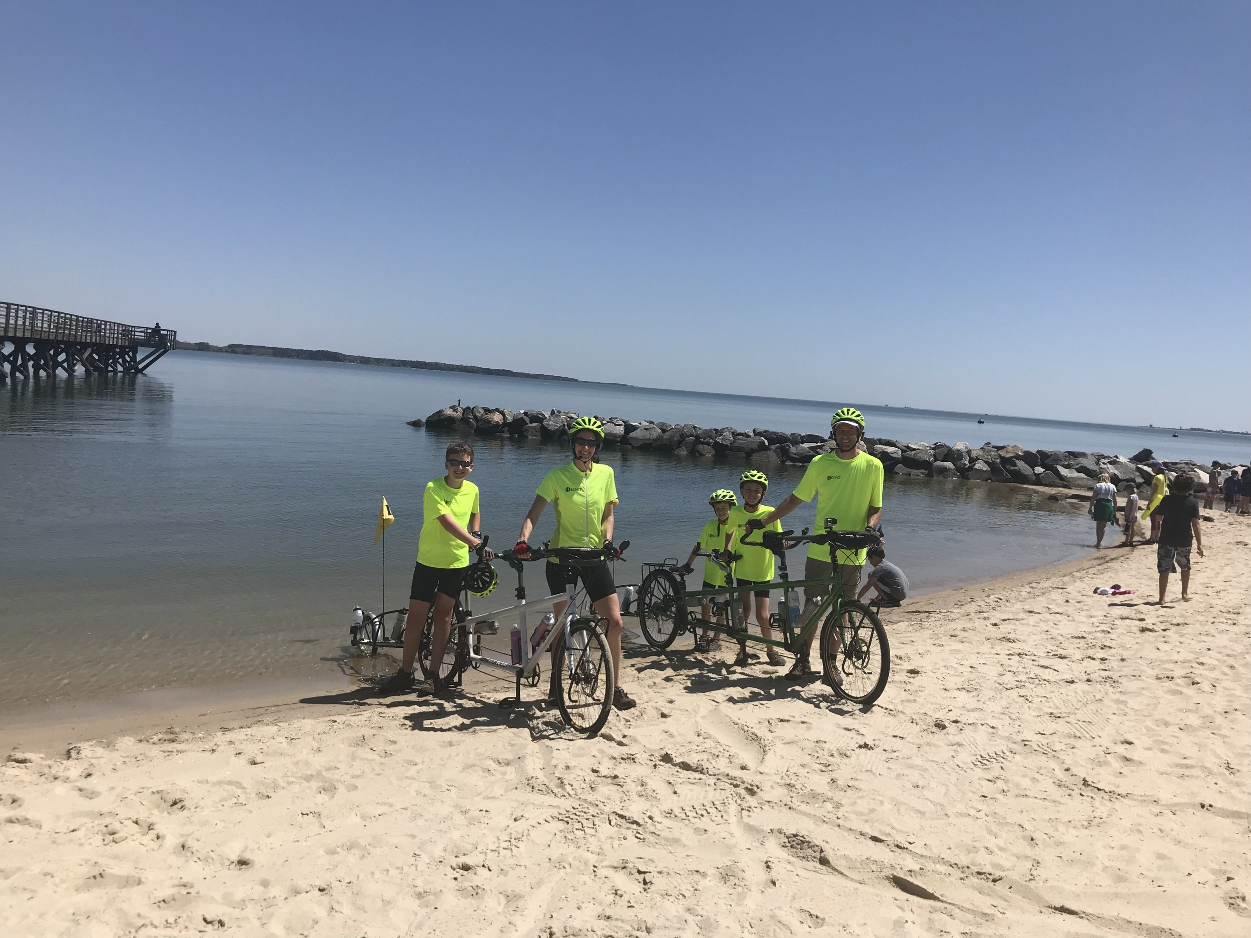 Here we are dipping our tires into the Atlantic (actually, the York River, more accurately- but close enough, right?). Our official (while symbolic) start to our journey across the country.