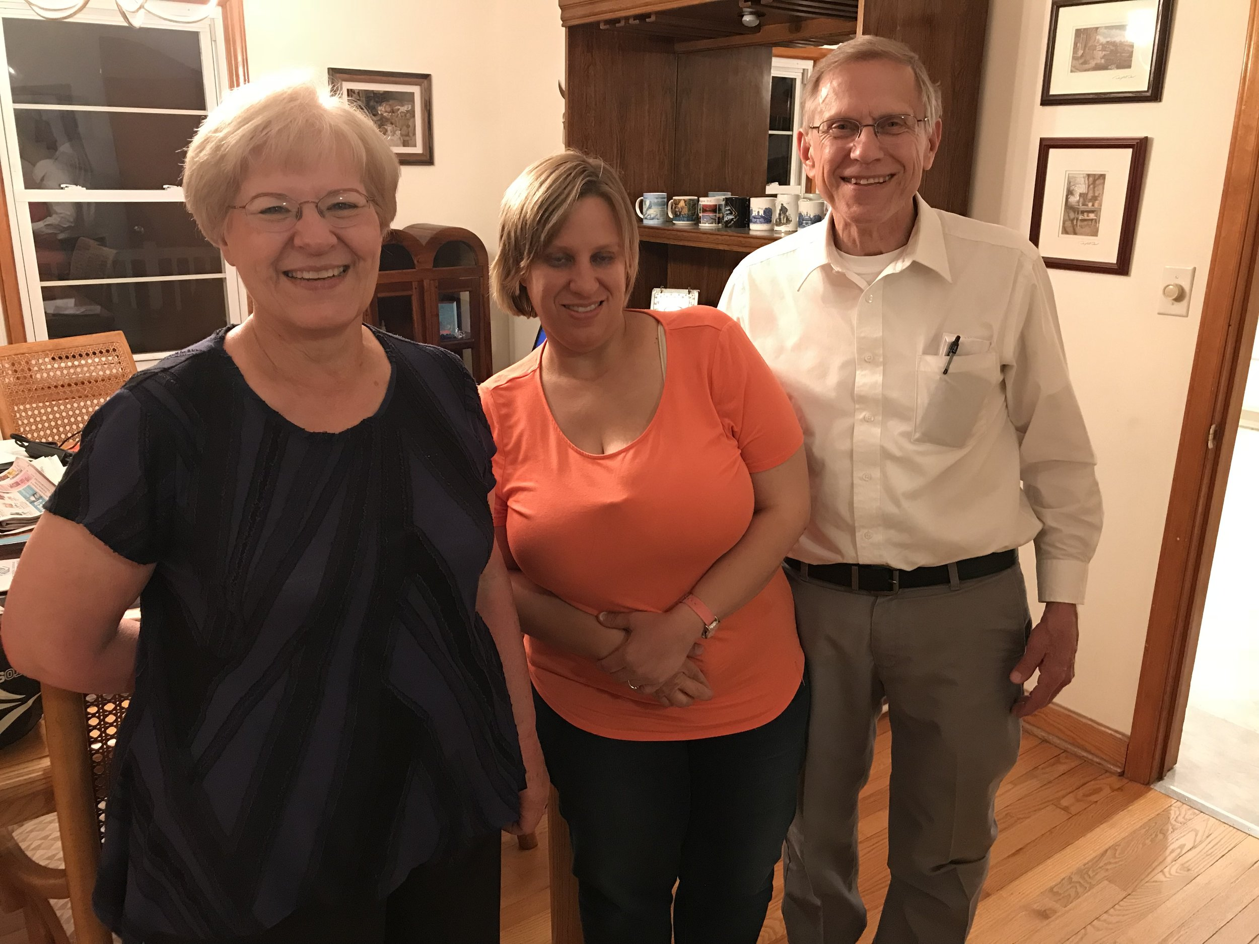 Rita, daughter Jessica, and George (pastor of Palmyra United Methodist Church) who graciously allowed us to take showers at their home. We must have looked really dirty!! What a sweet and welcoming family!