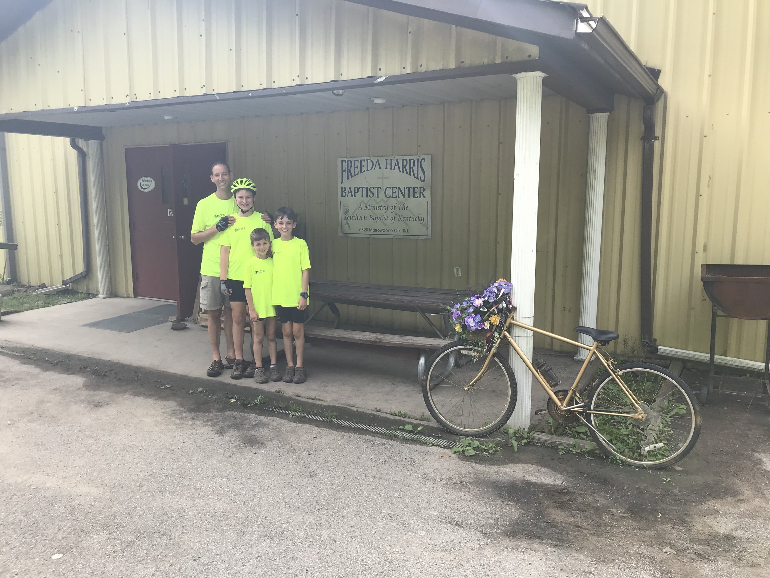 "The ""bike hostel"" where we stayed Sunday evening in Lookout, KY, hosted by a gracious group of volunteers of a local church."