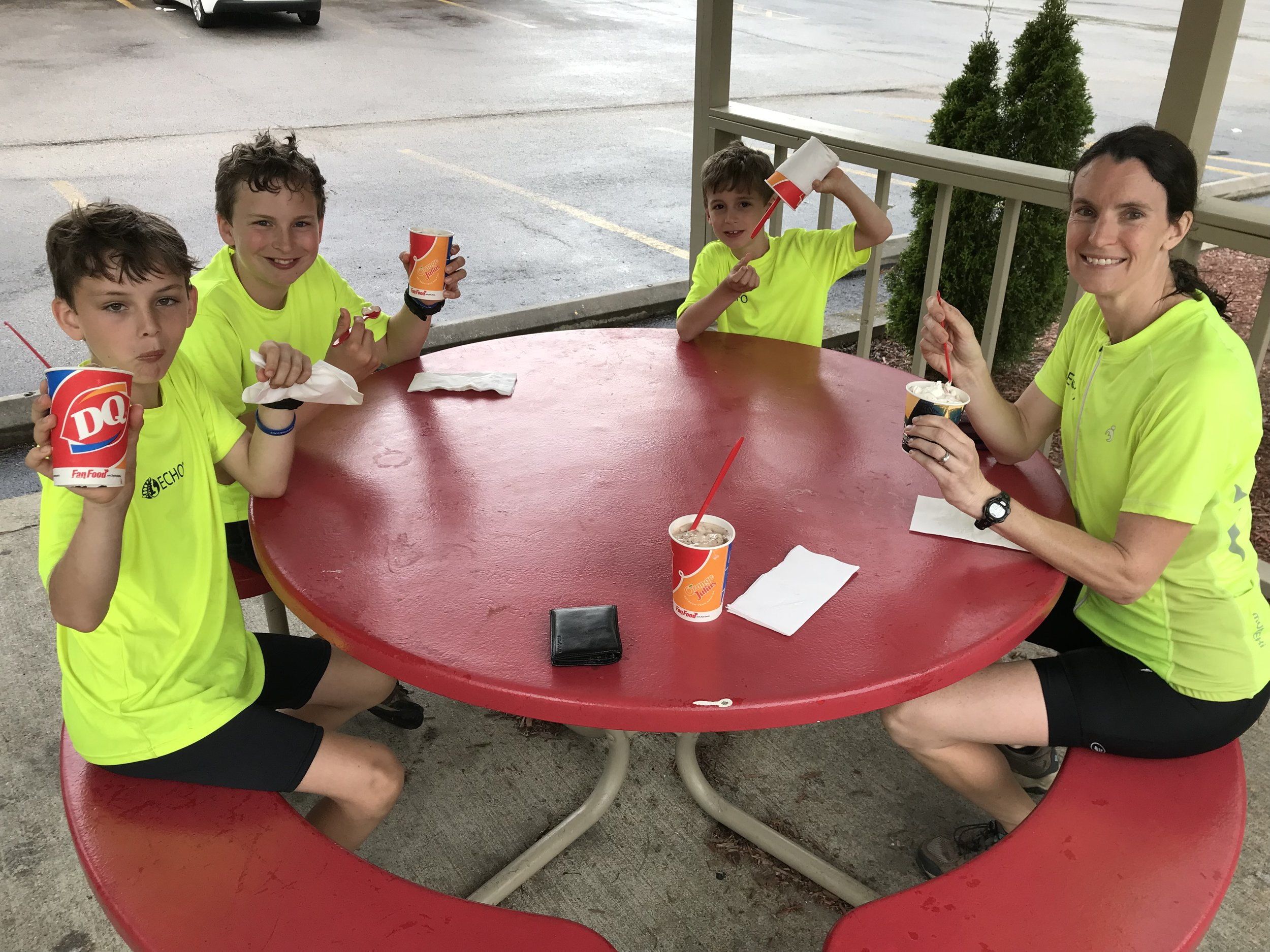 "Well-deserved Dairy Queen ""blizzards"" as our reward for getting over that final steep mountain and making it 50 miles yesterday!"