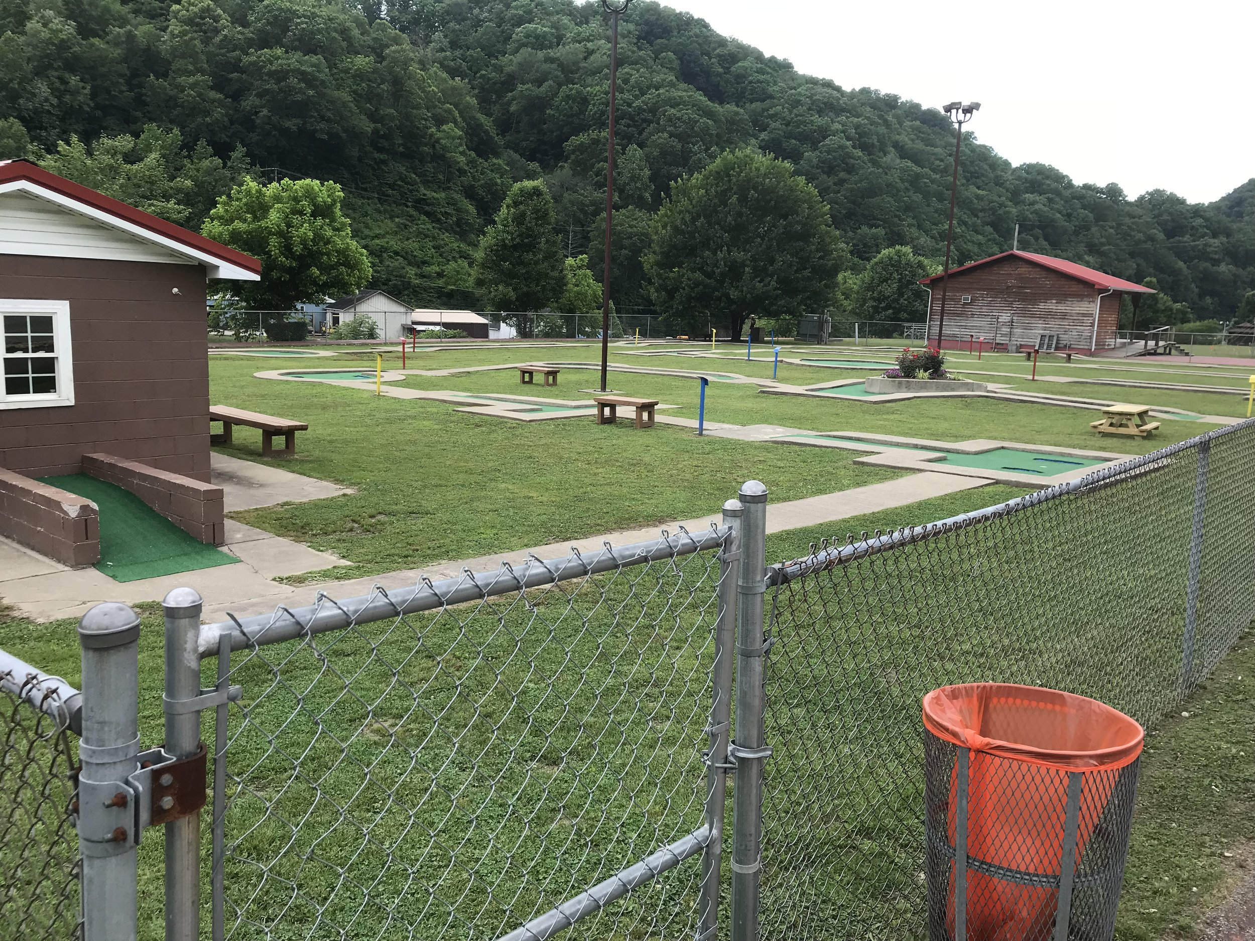 Here is the free mini-golf next to the playground.