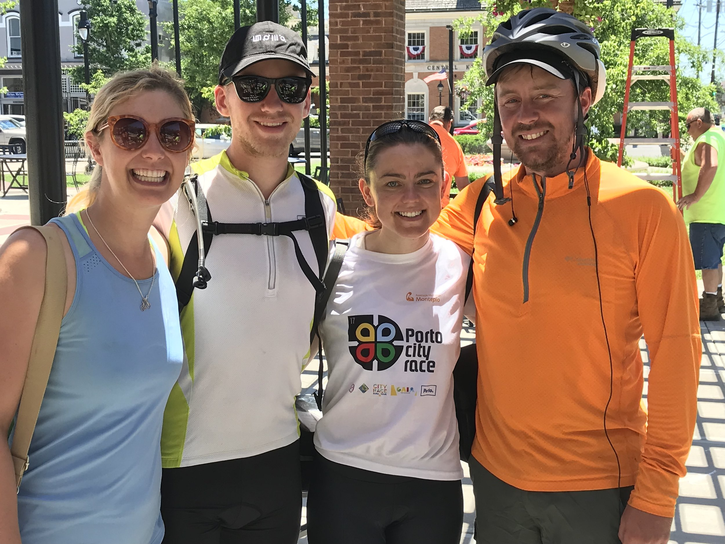 More TransAmerica cycling buddies in Danville, KY (Eileeny, Scott, Becky, and Kyle), all of whom are on their venture separately. These 4 coincided for several days and nights so were able to pal around, get to know each other, and ride together for a little while.