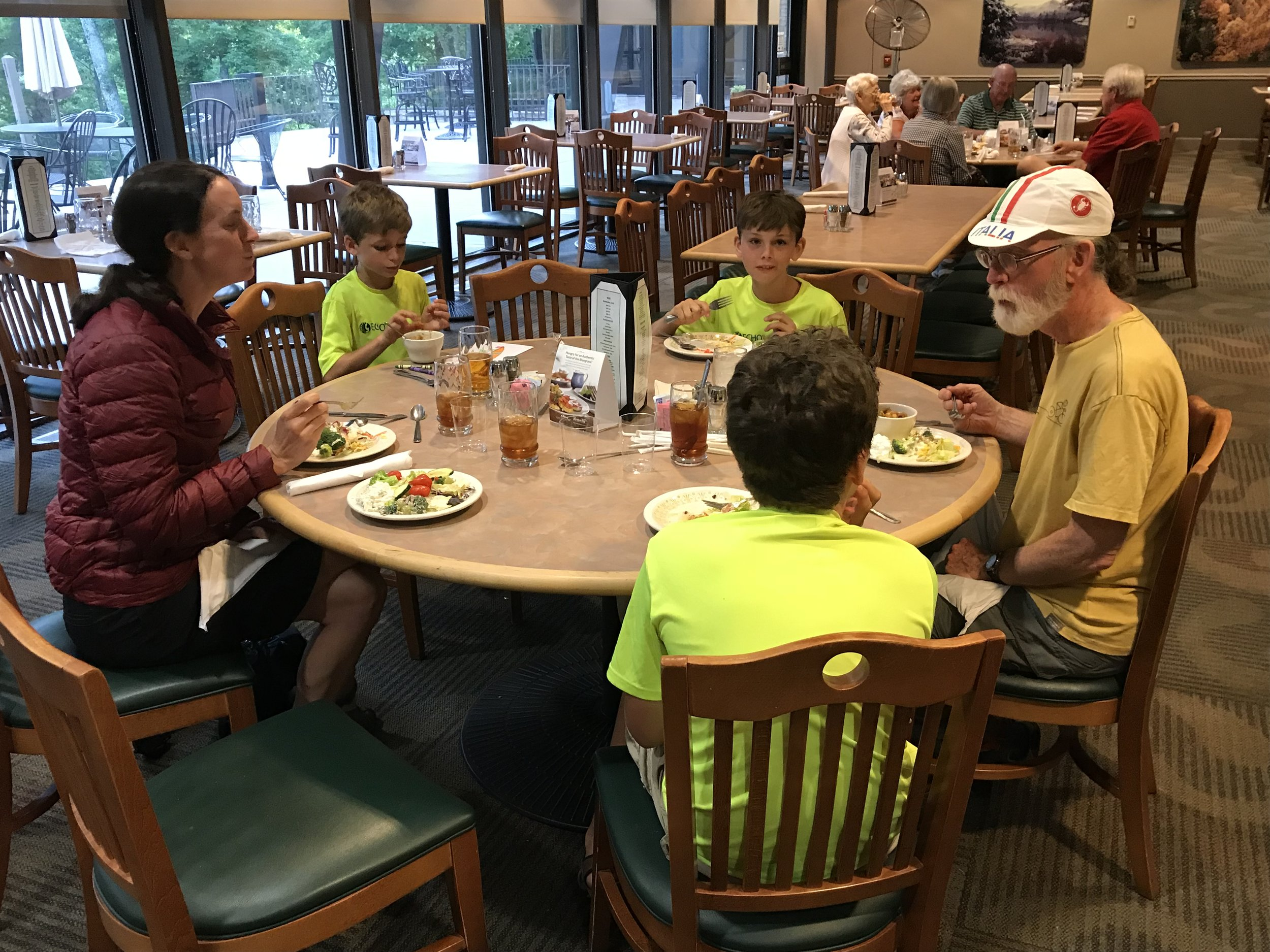 Mmm! We were so excited about the all-you-can-eat catfish special at the Rough River State Park lodge, where we ate dinner with our cycling buddy, Robbie. We are so glad that our paths have crossed with him so many times!