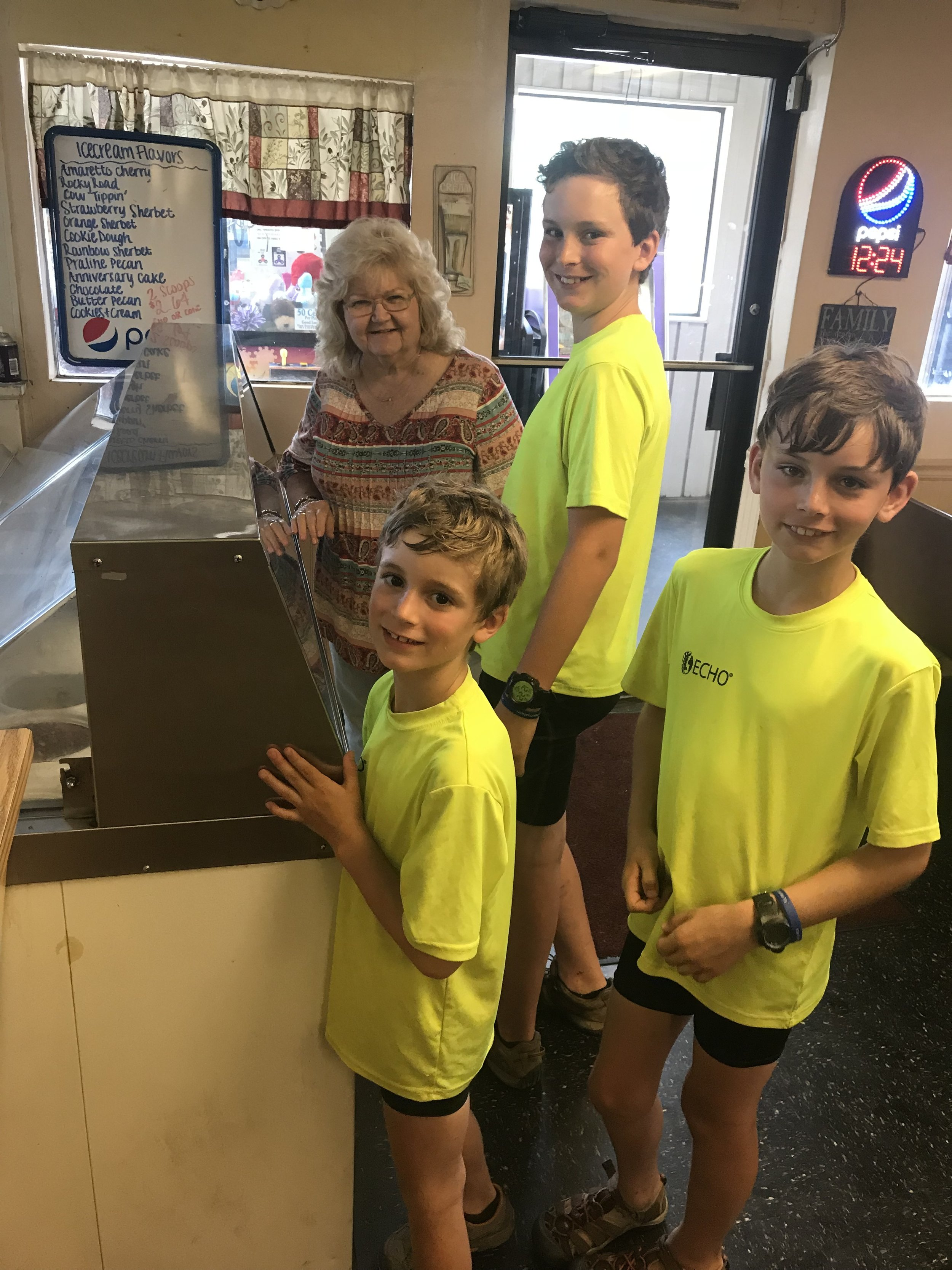 At a little restaurant in Sebree, KY, we struck up a conversation with a sweet couple, and the woman treated the boys to ice cream! More kindness!