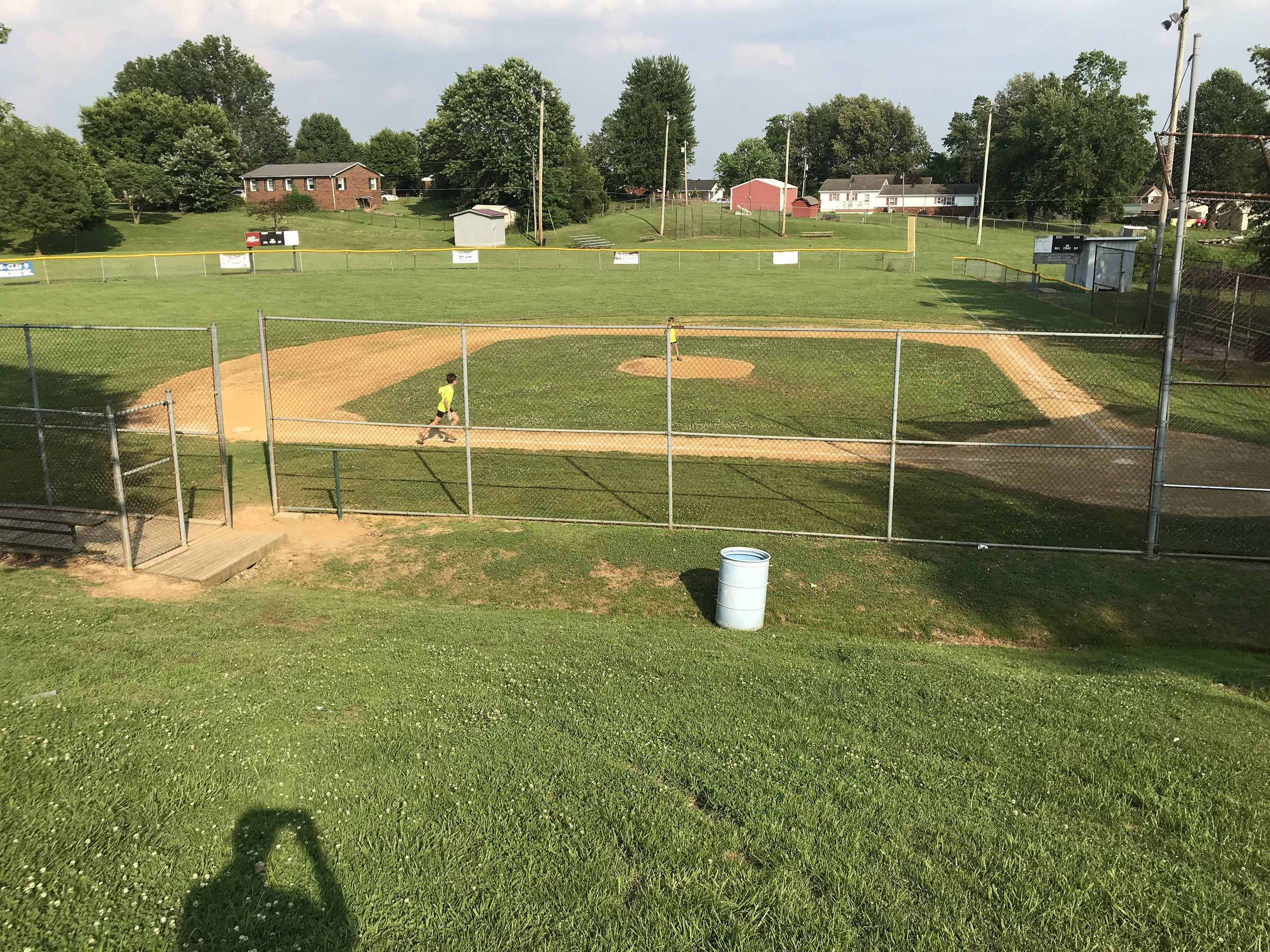 Here is Clay City Park. As a minimal way to show our appreciation, we helped pick up litter all around the park to help them get ready for the baseball and softball games happening the next day.