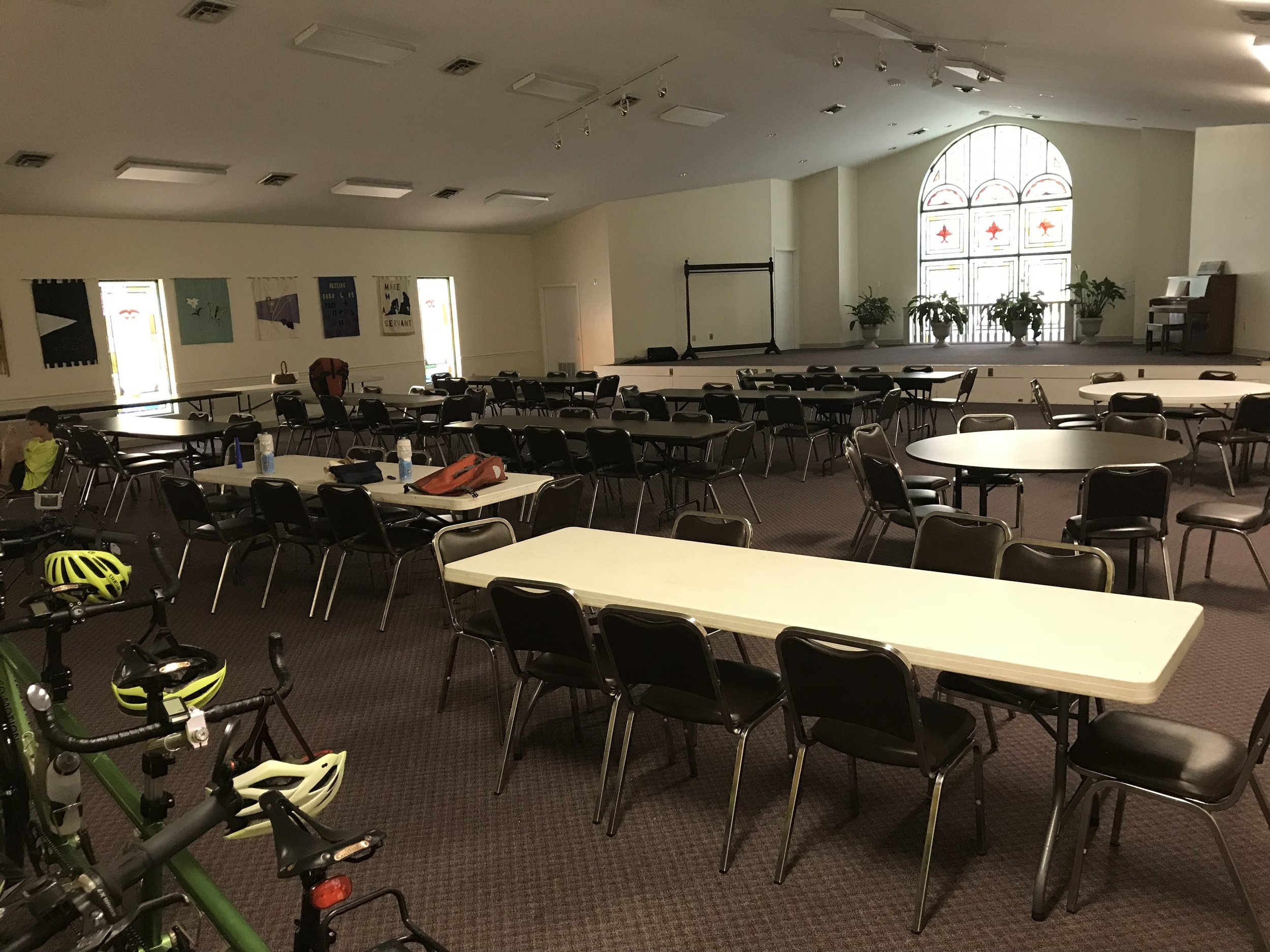 And here is the church fellowship hall (at Webb Memorial United Methodist Church) in Clay, KY, where we stayed.