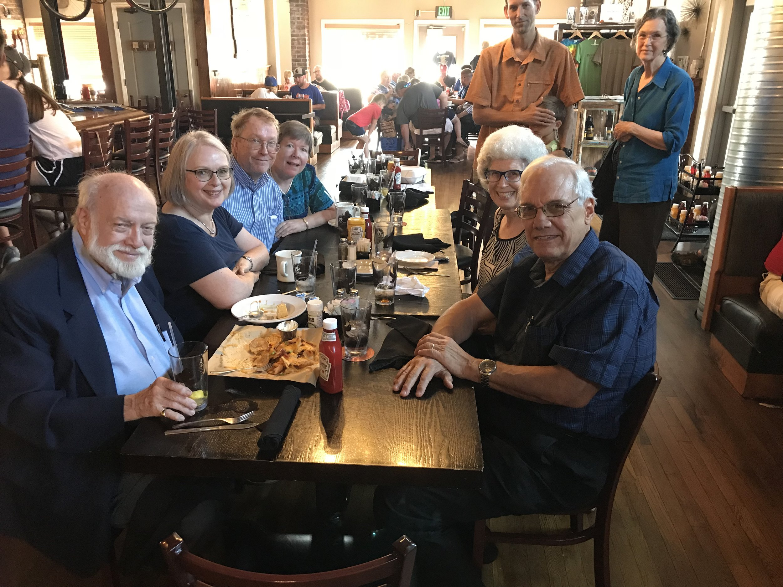 Enjoying lunch with our new friends from the church we attended that morning in St. Louis. The couple on the right: David and Kendra, even know of ECHO and have supported them over the years.
