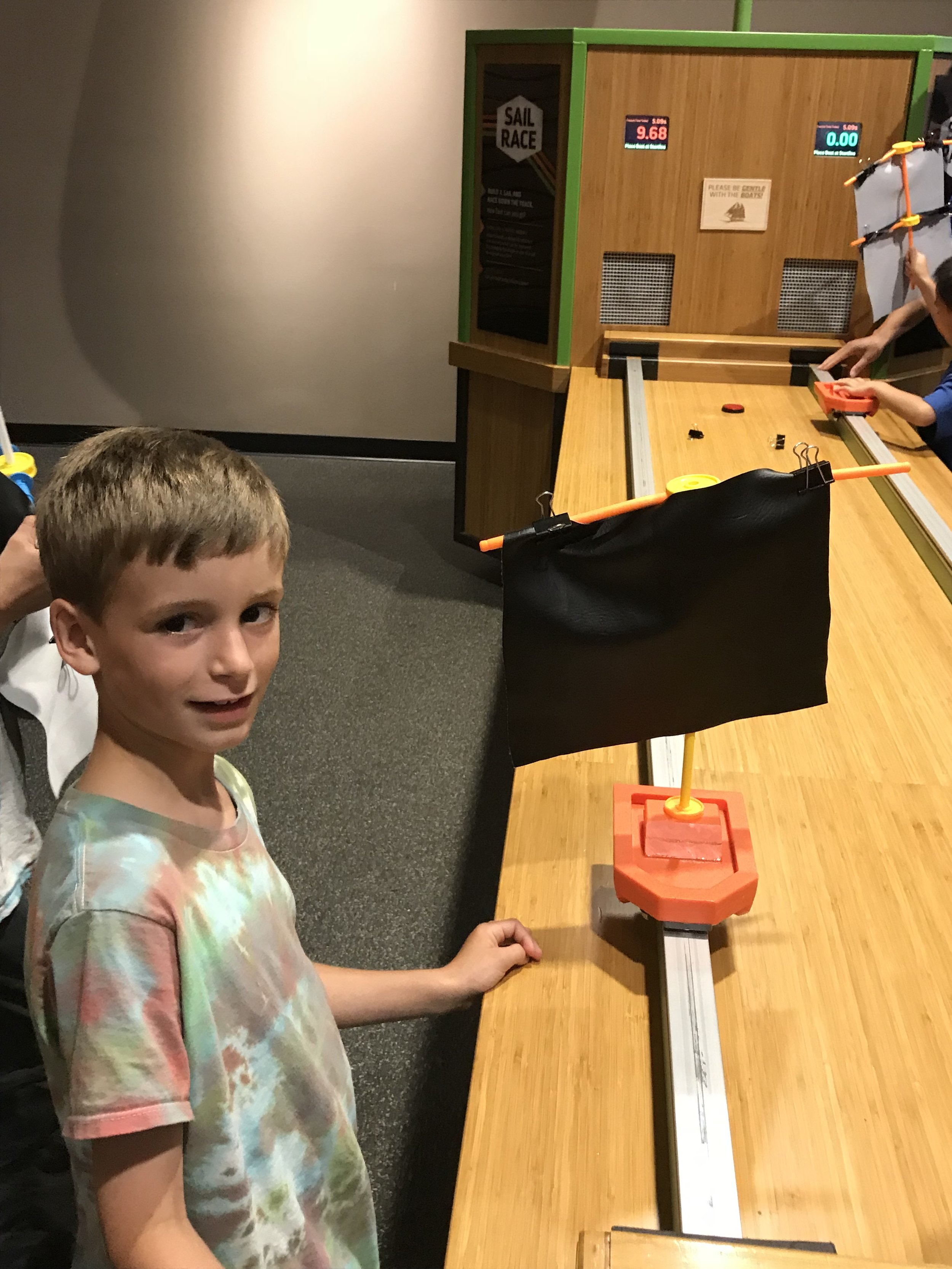 Making and testing sail boats at The St. Louis Science Center